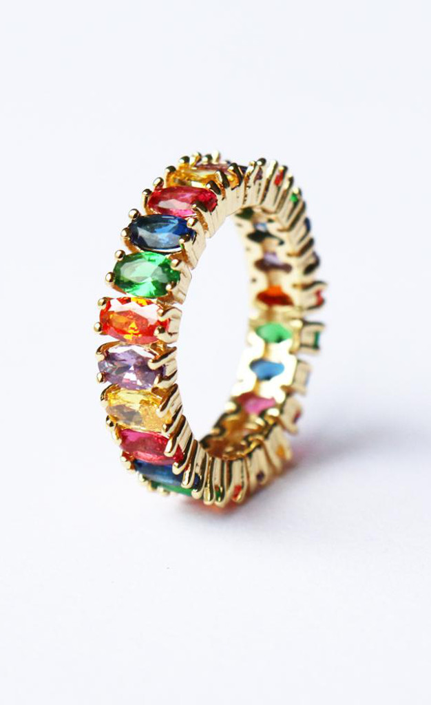Sarla Multi Color Stone Rainbow Ring