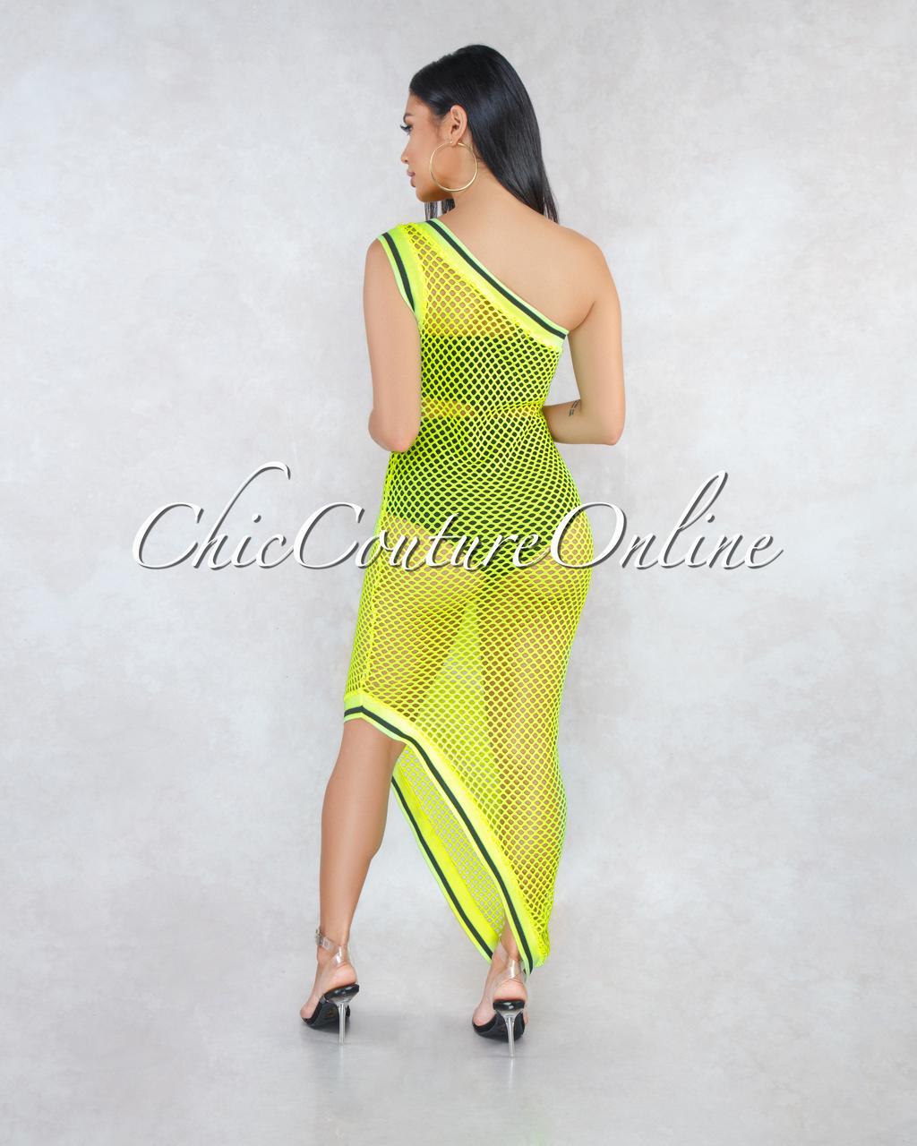 Lyana Neon Yellow Single Shoulder Asymmetrical Cover-Up Net Dress