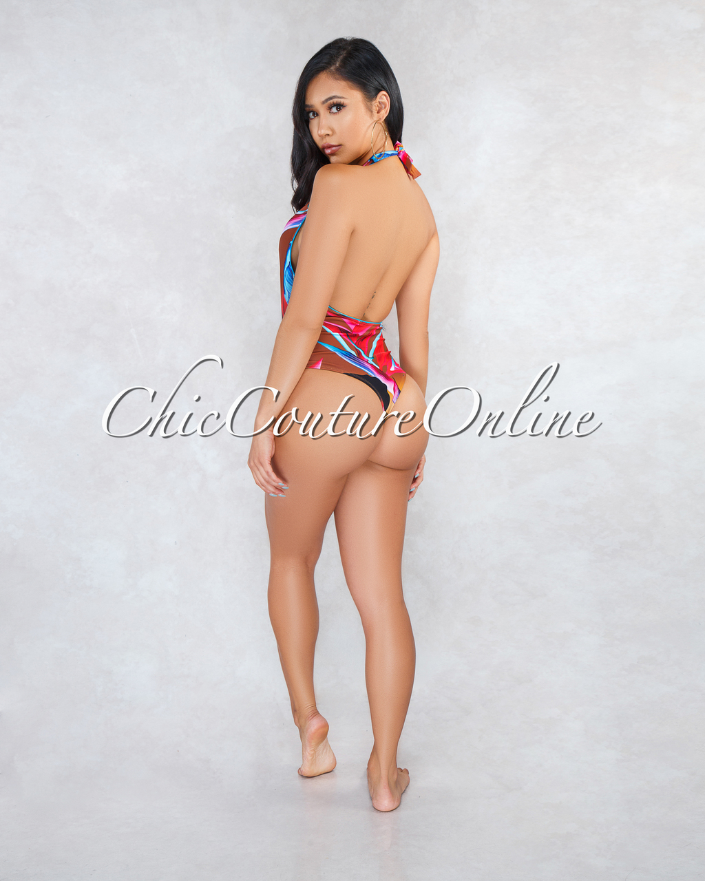 Kimbra Brown Red Blue Print One Piece Swimsuit