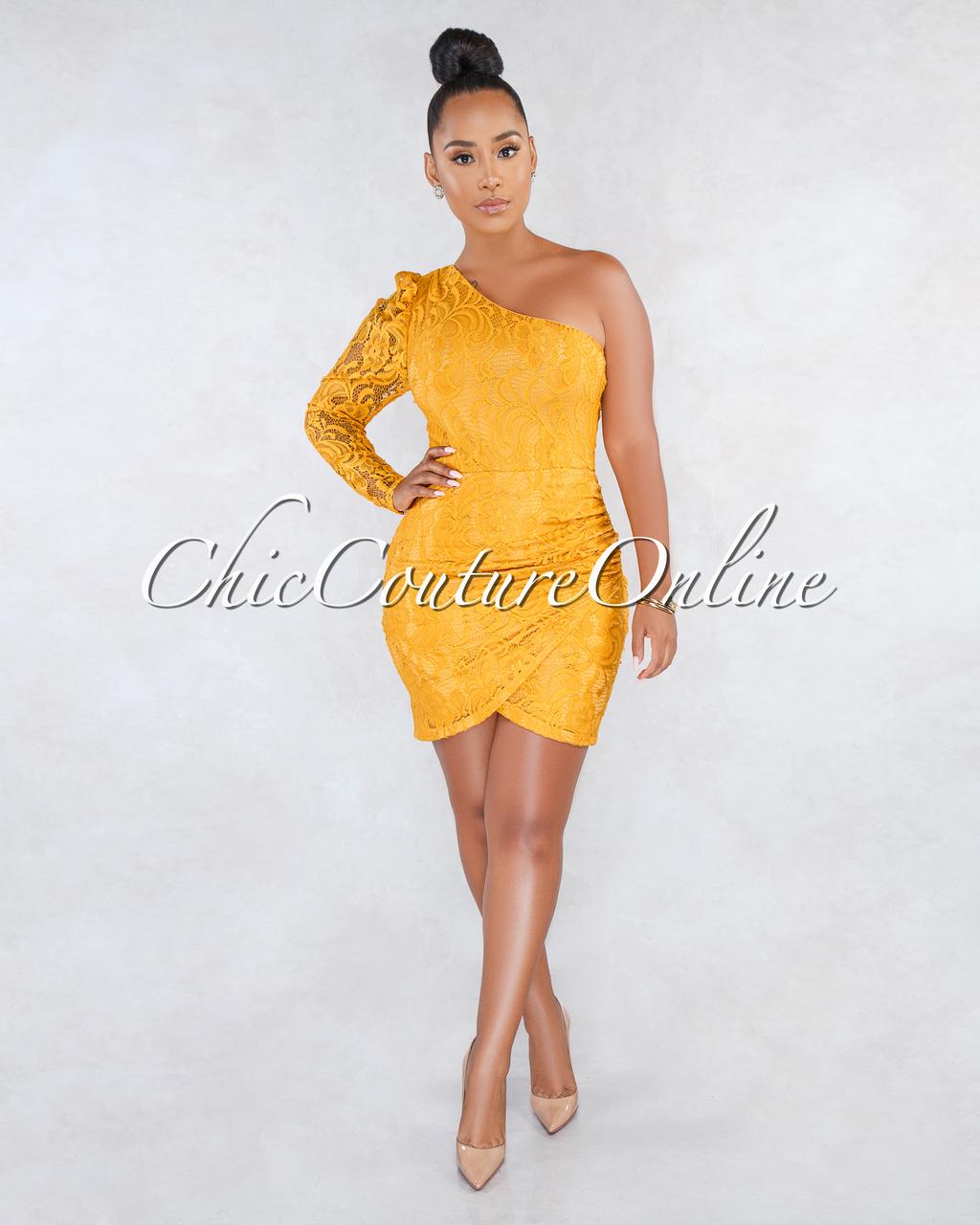 Sloan Mustard Lace Single Long Sleeve Mini Dress