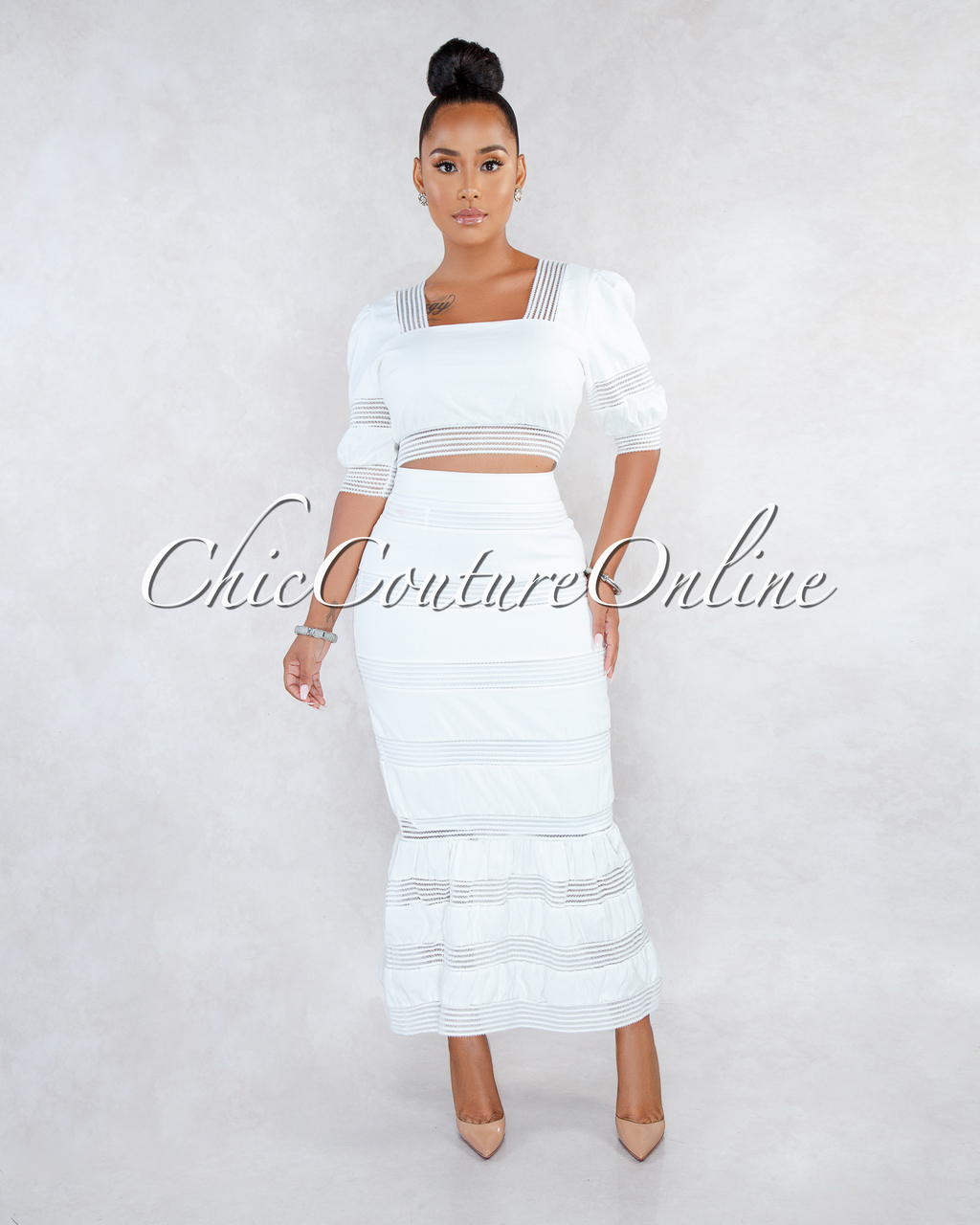 Augusta Off-White Lace Stripes Two Piece Set