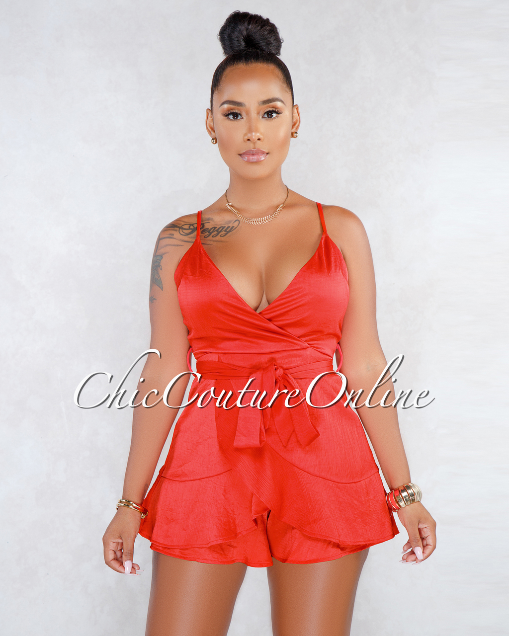 Knox Red Silky Ruffle Details Romper