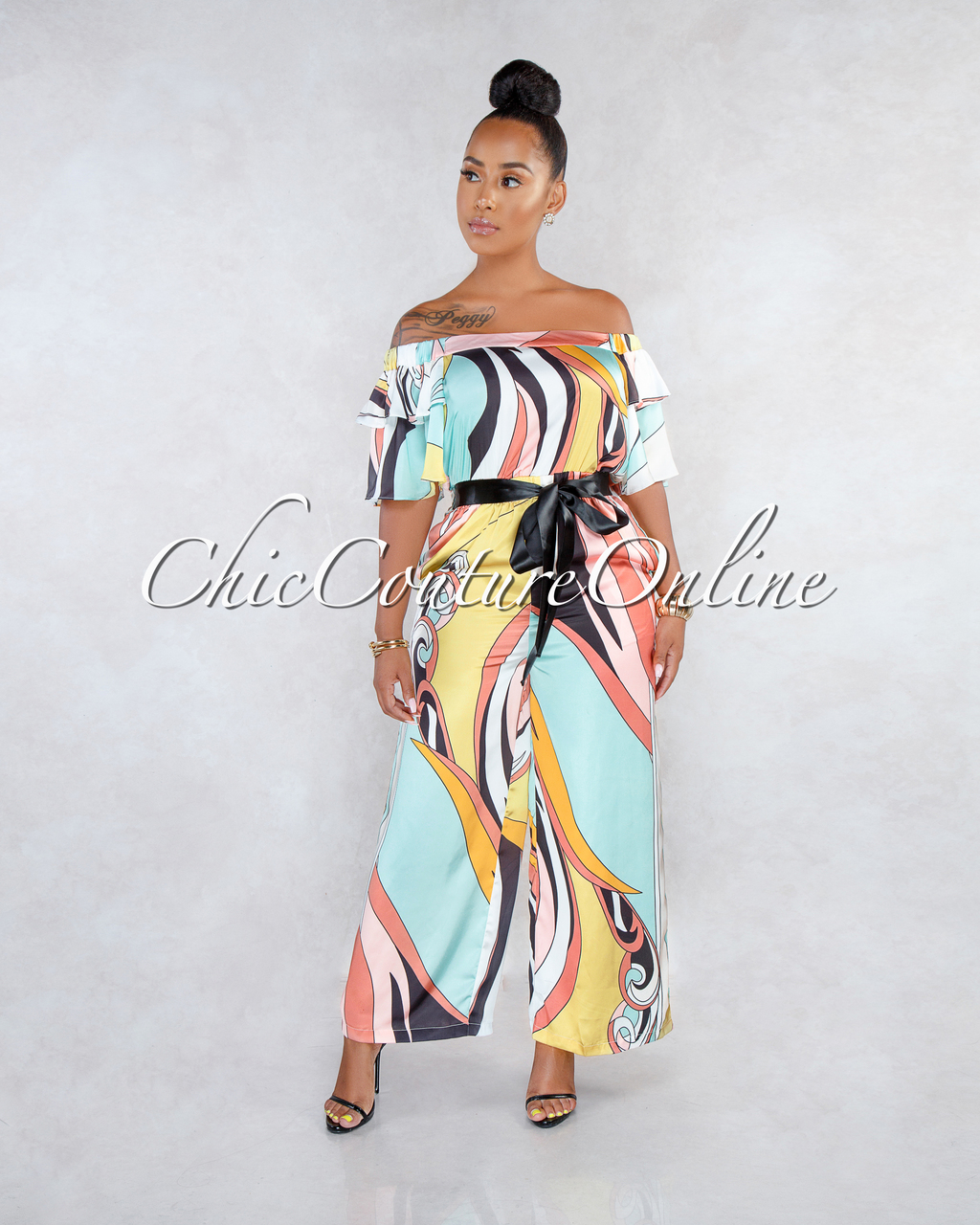 Polly Pastel Retro Print Silky Off-The-Shoulders Jumpsuit