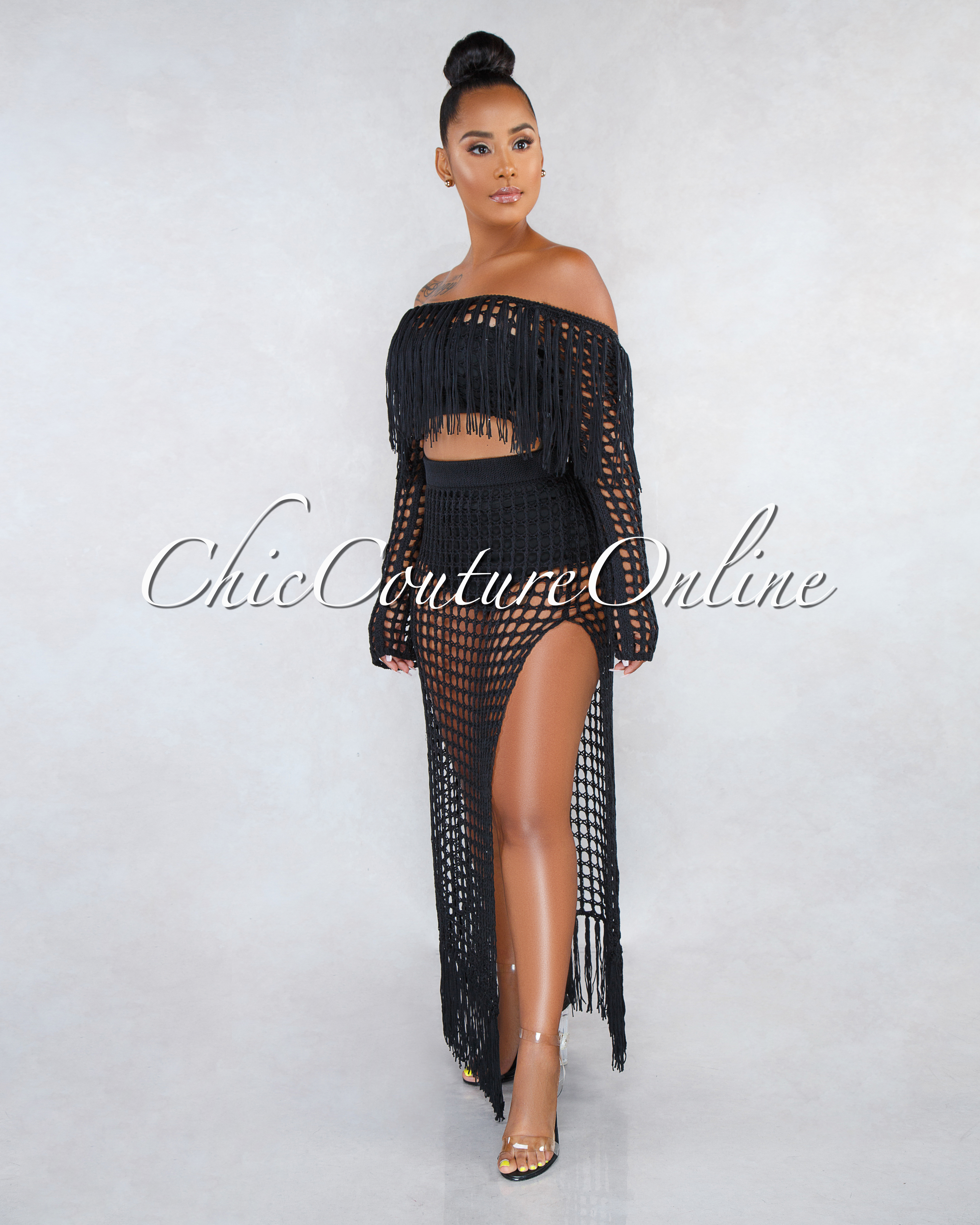 Arsenia Black Crochet See-Through Cover-Up Two Piece Set