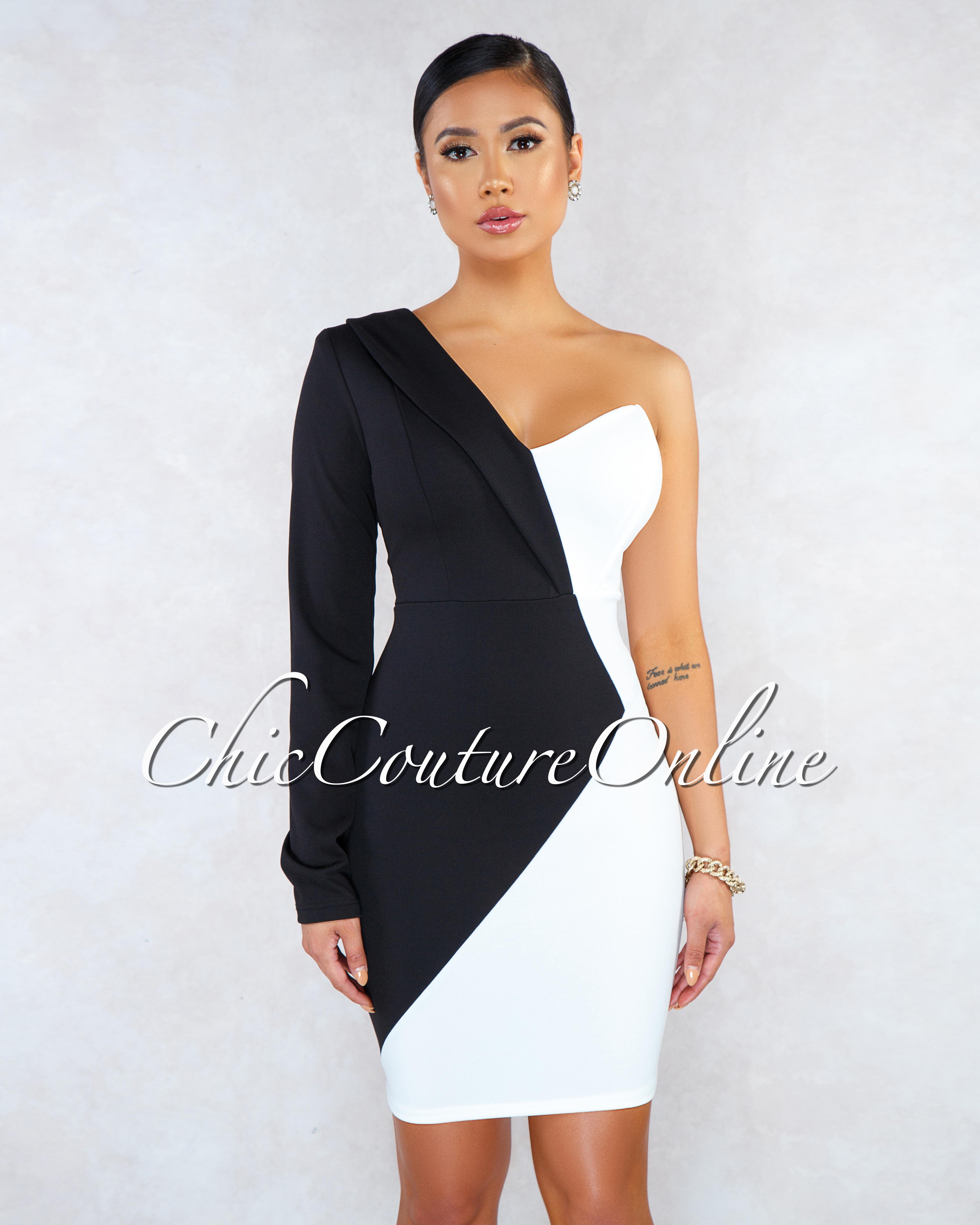 Ranthia Black White Two-Tone Single Long Sleeves Dress