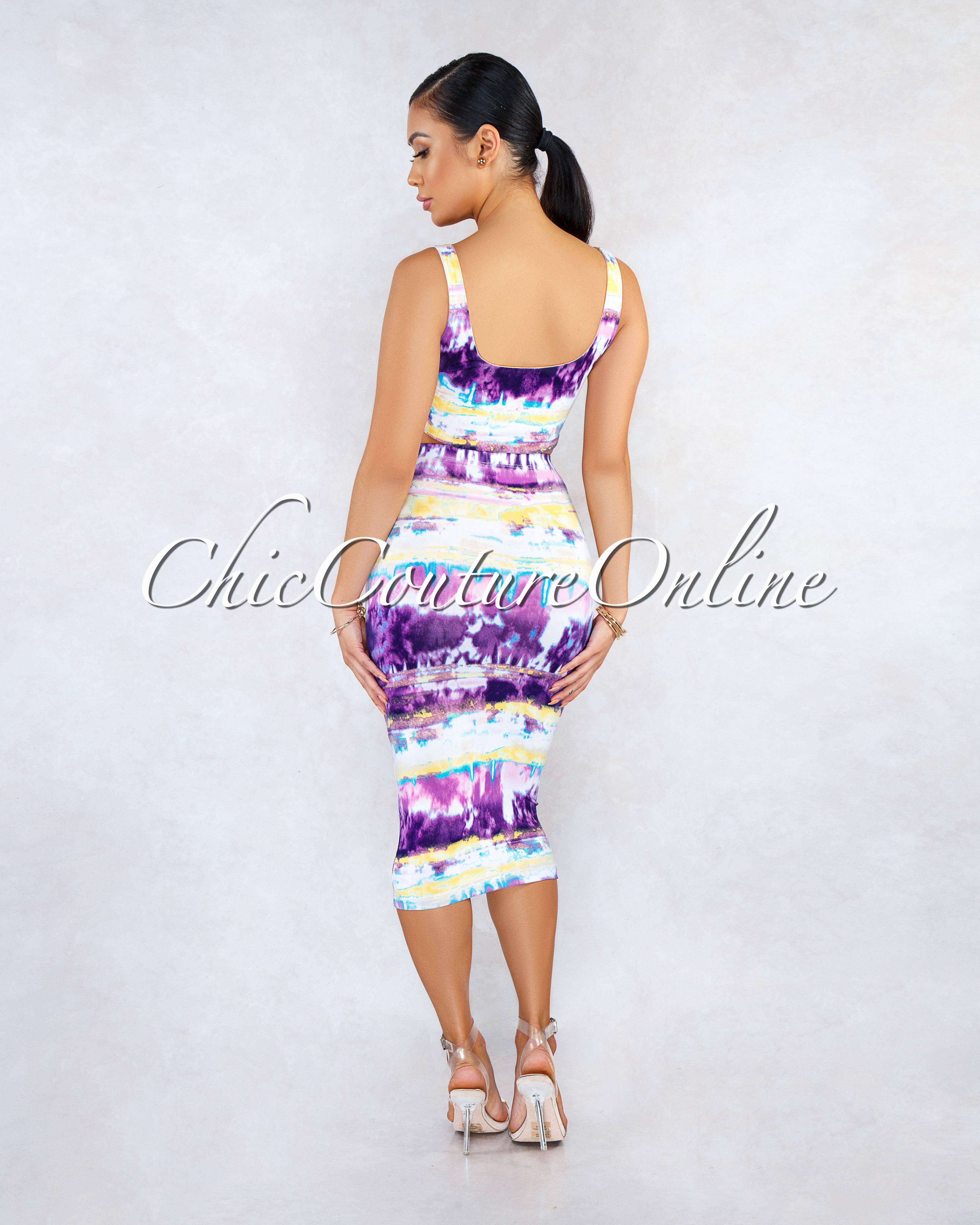 Tamaya White Purple Tie-Dye Front Tie Skirt Two Piece Set