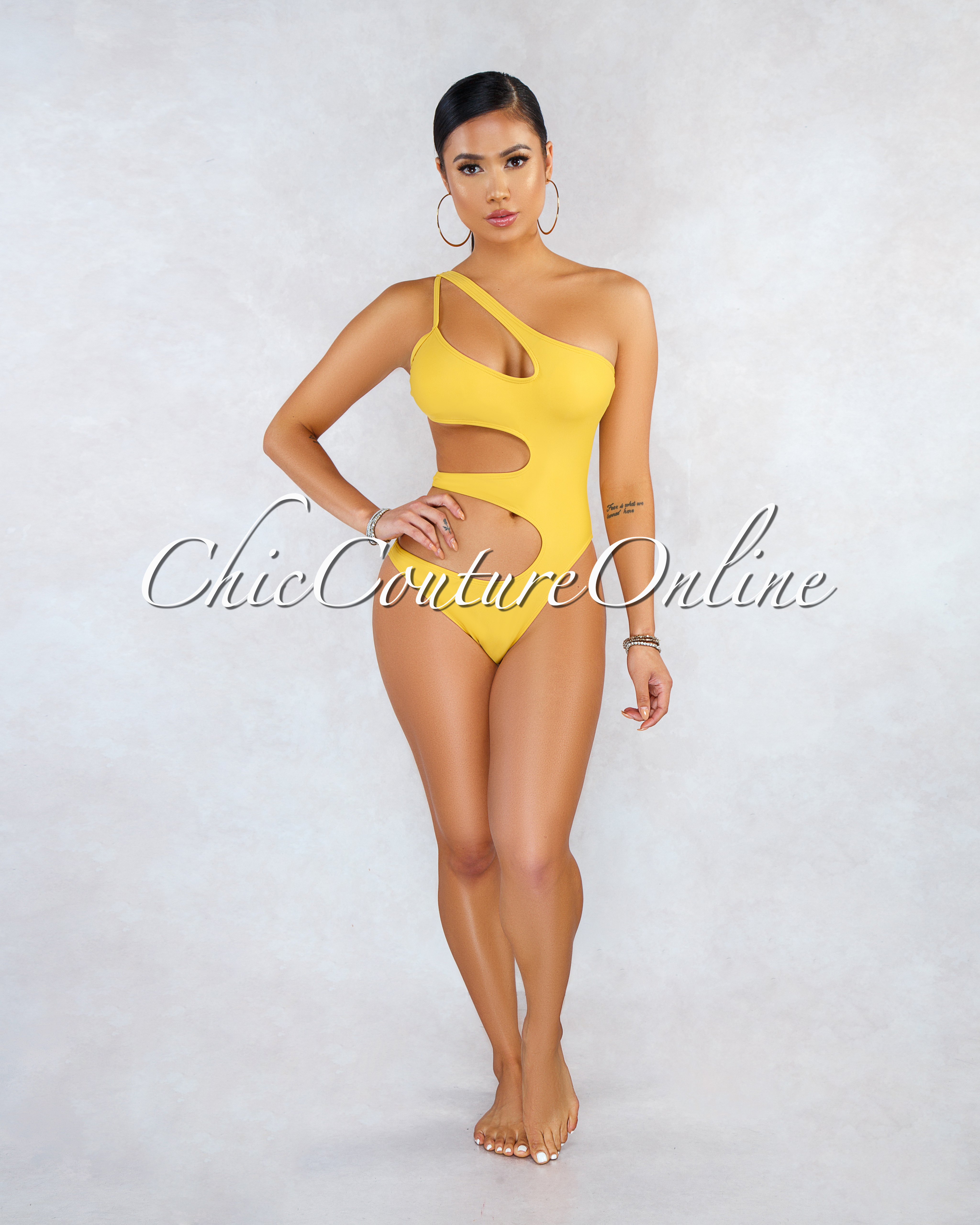 Viper Yellow Mustard Cut-Out One Piece Swimsuit