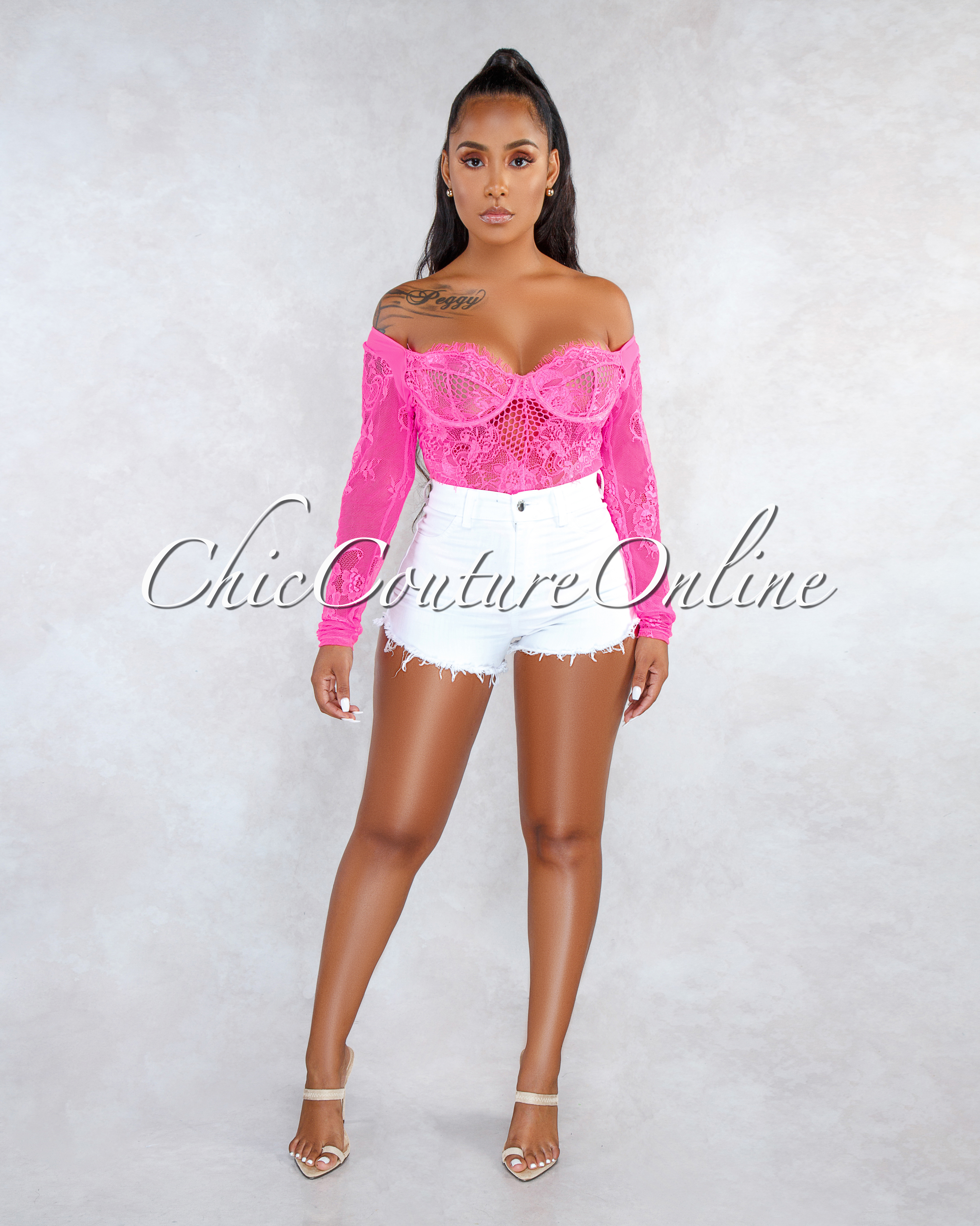 Arissa Neon Pink Sheer Lace Long Sleeves Bodysuit