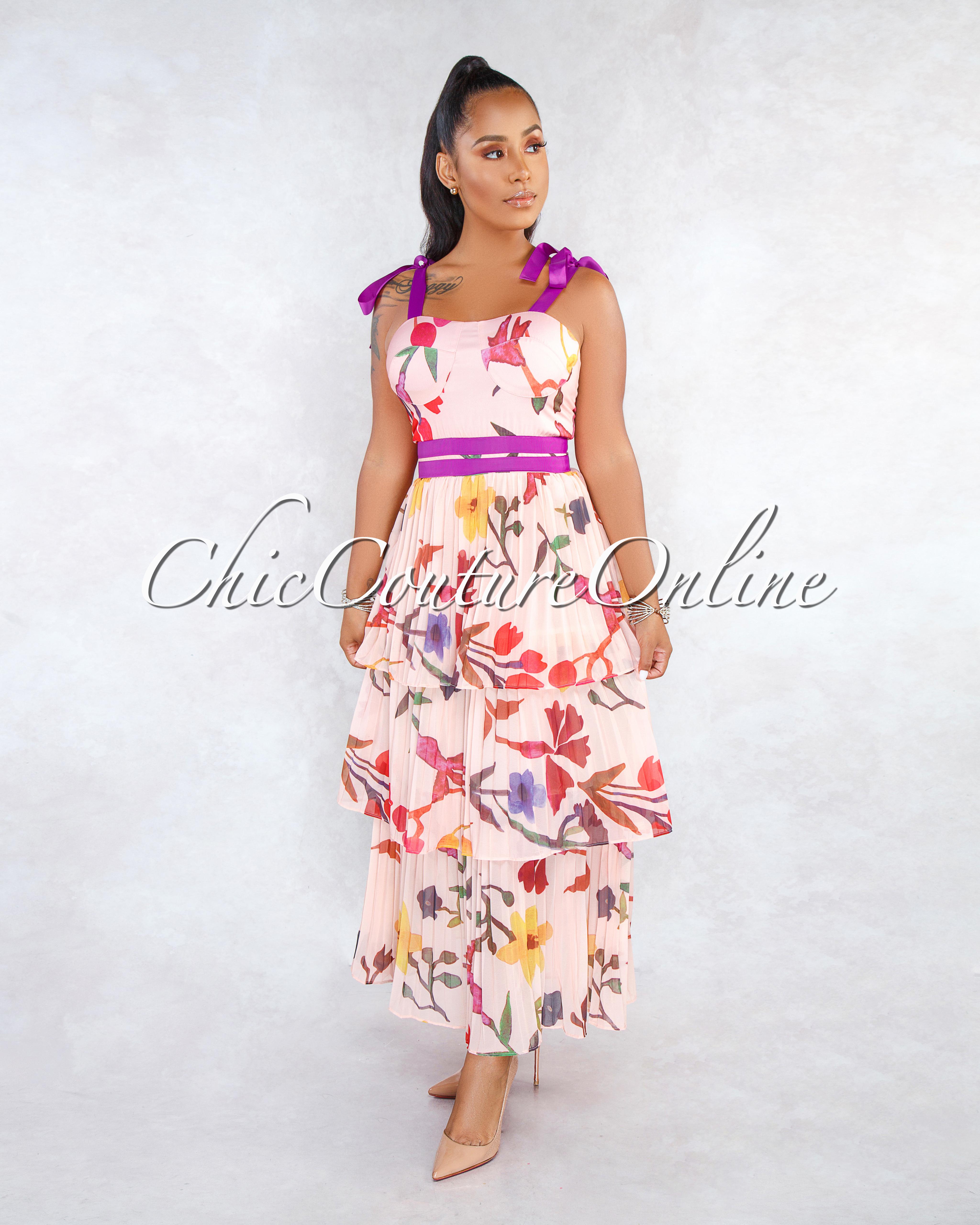 Queda Blush Floral Purple Accent Tier Pleated Maxi Dress