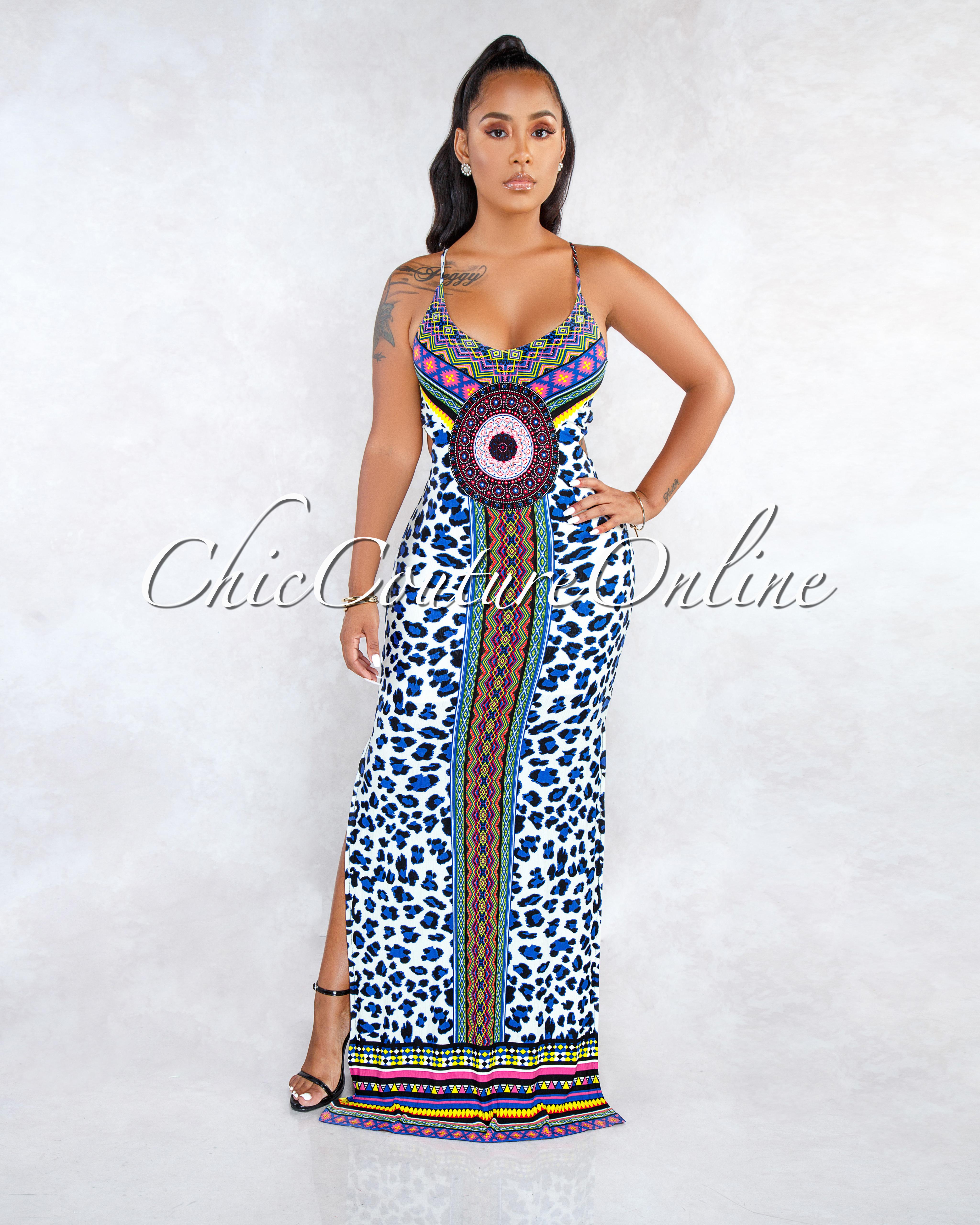 Ysabel Multi-Color Aztec Leopard Print Open Back Maxi Dress