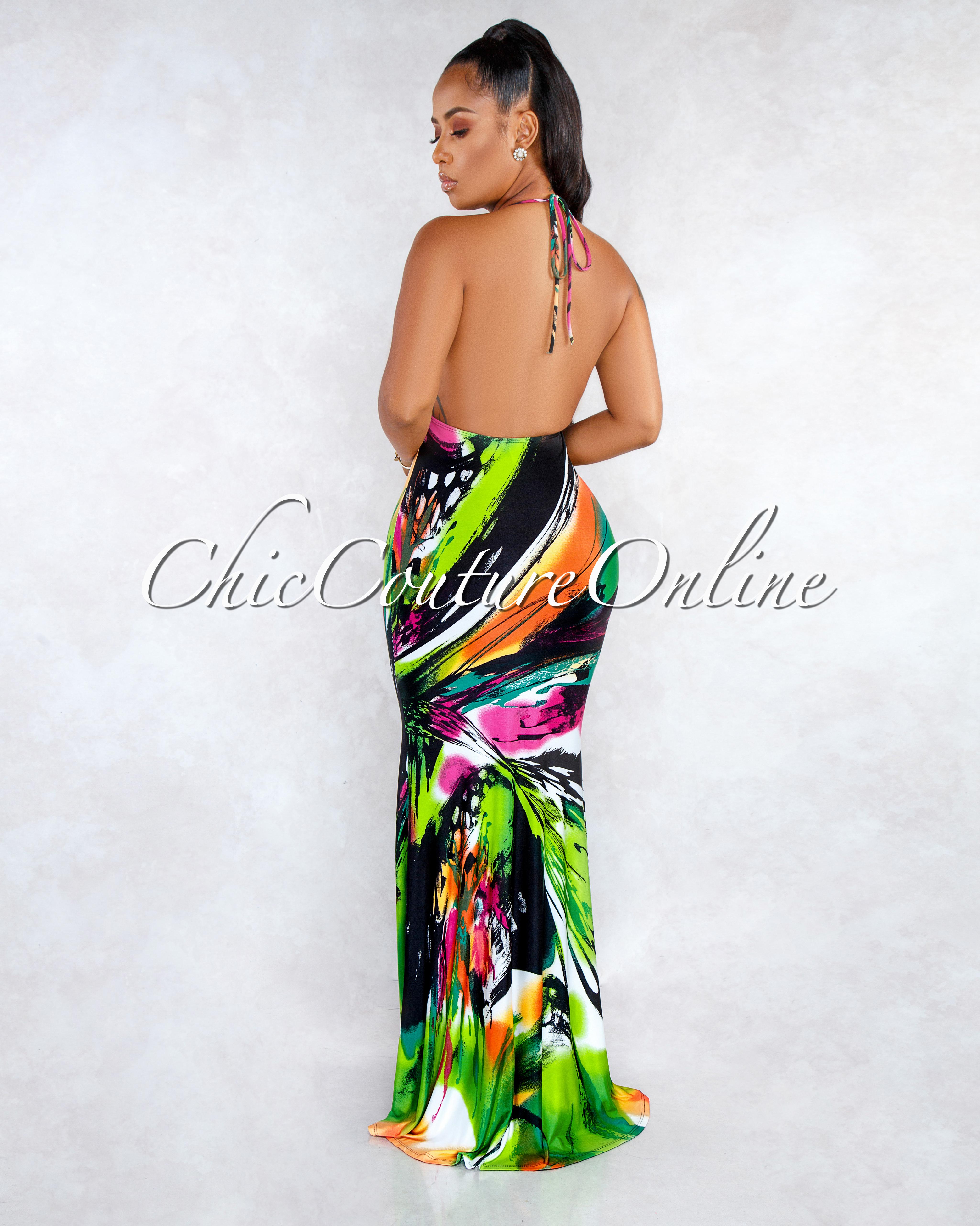 Sandie Green Multi-Color Print Halter Low Back Maxi Dress