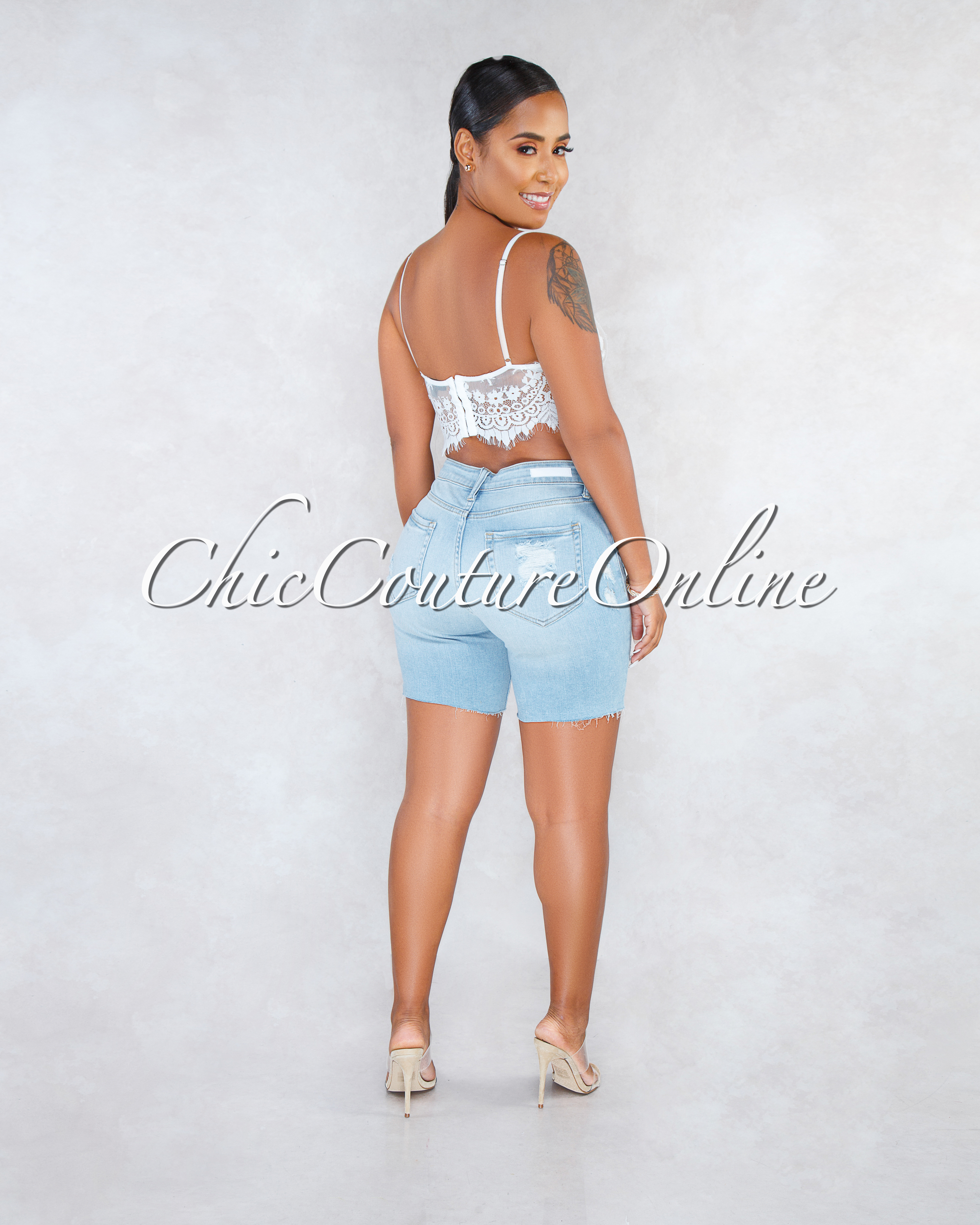 Astor Light Blue Denim Bike Length Destroyed Shorts