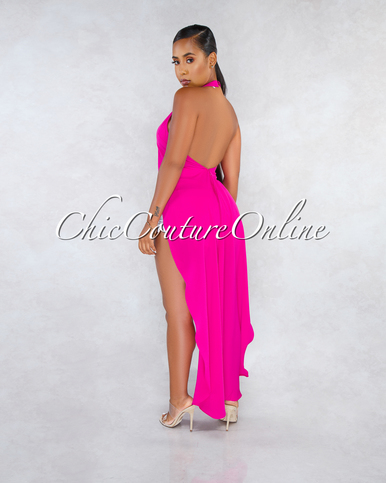 Terrie Magenta Dramatic High-Low Shift Open Back Top