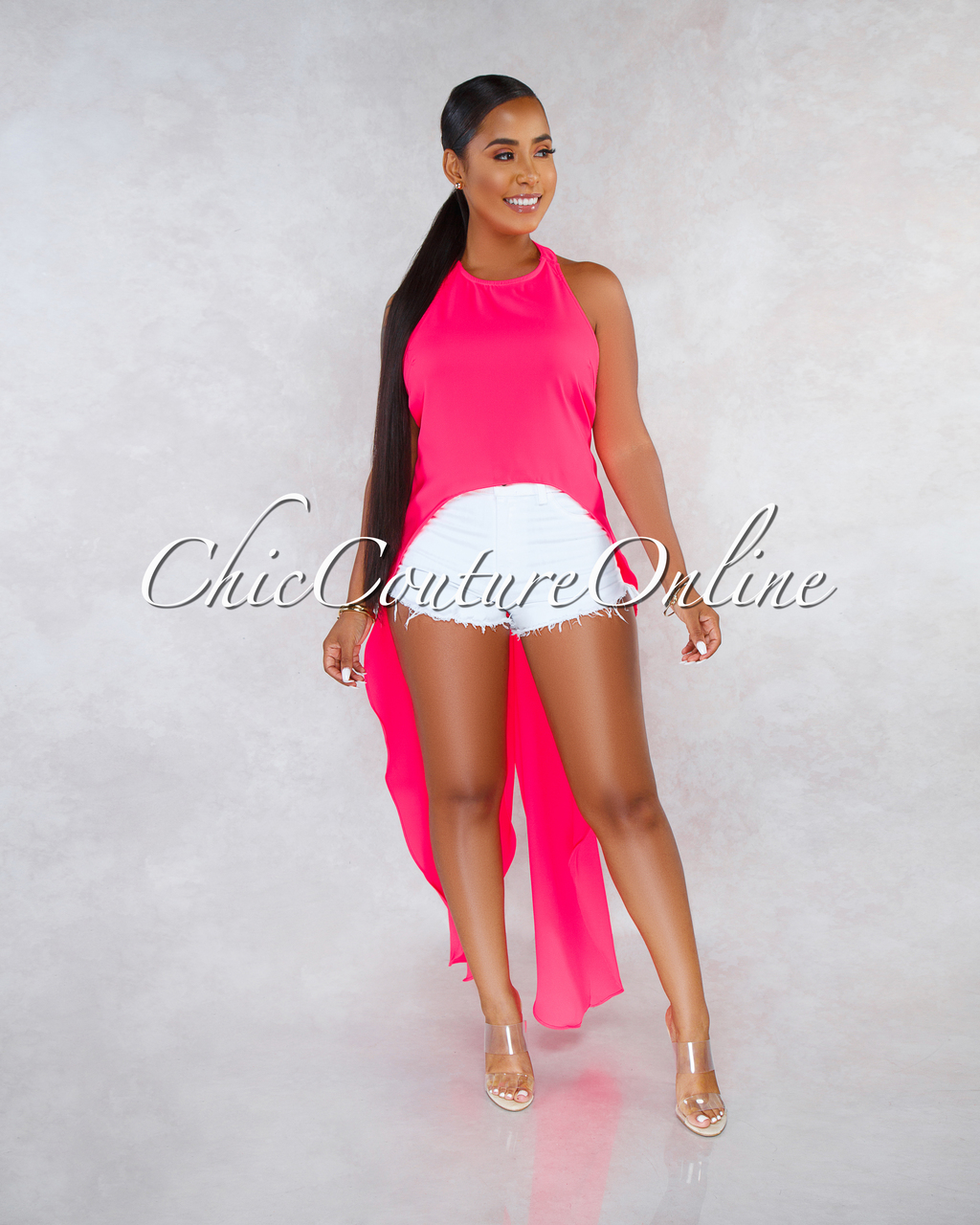 Terrie Neon Pink Dramatic High-Low Shift Open Back Top