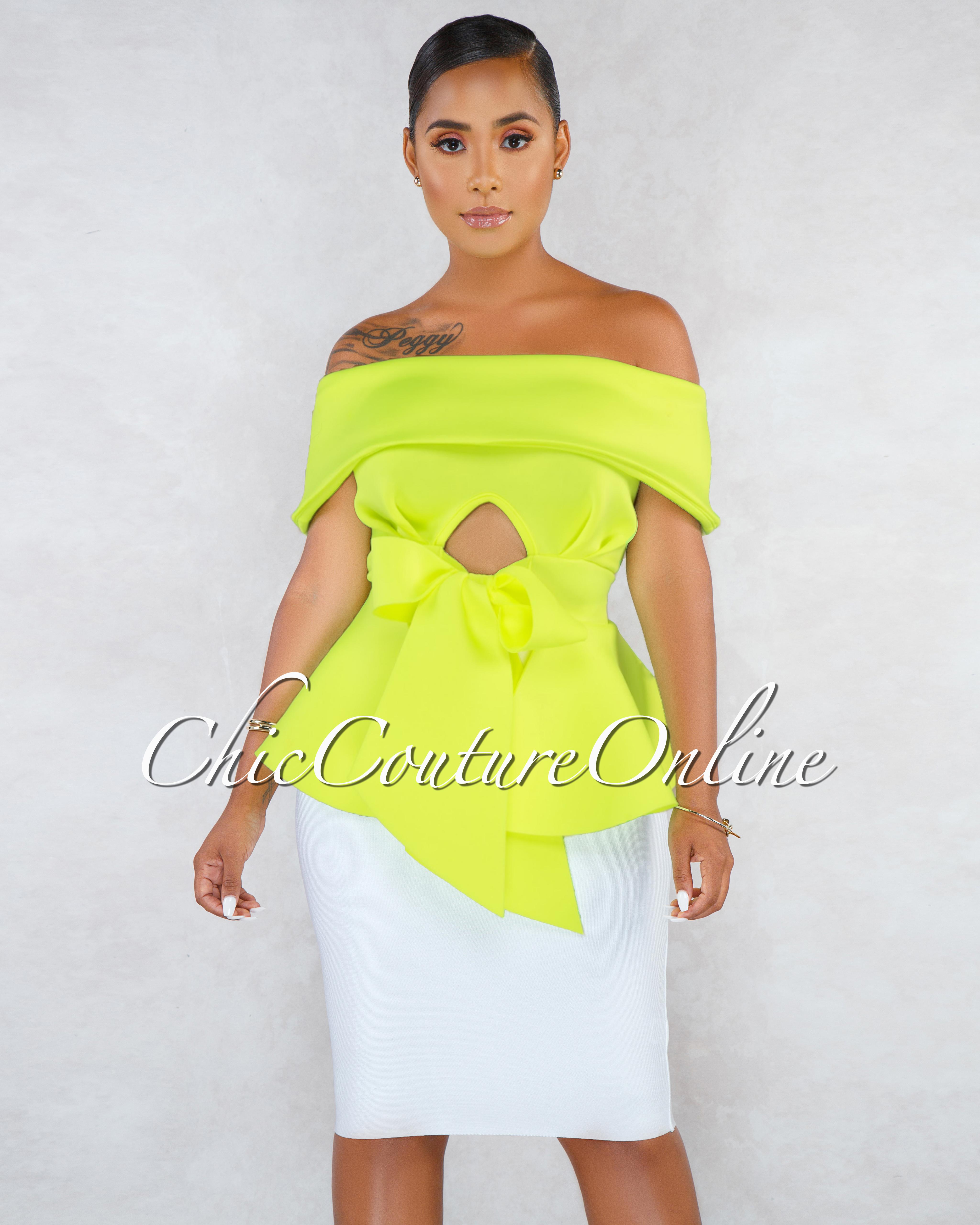 Suleima Neon Lemon Front Tie Strapless Ponti Peplum Blouse