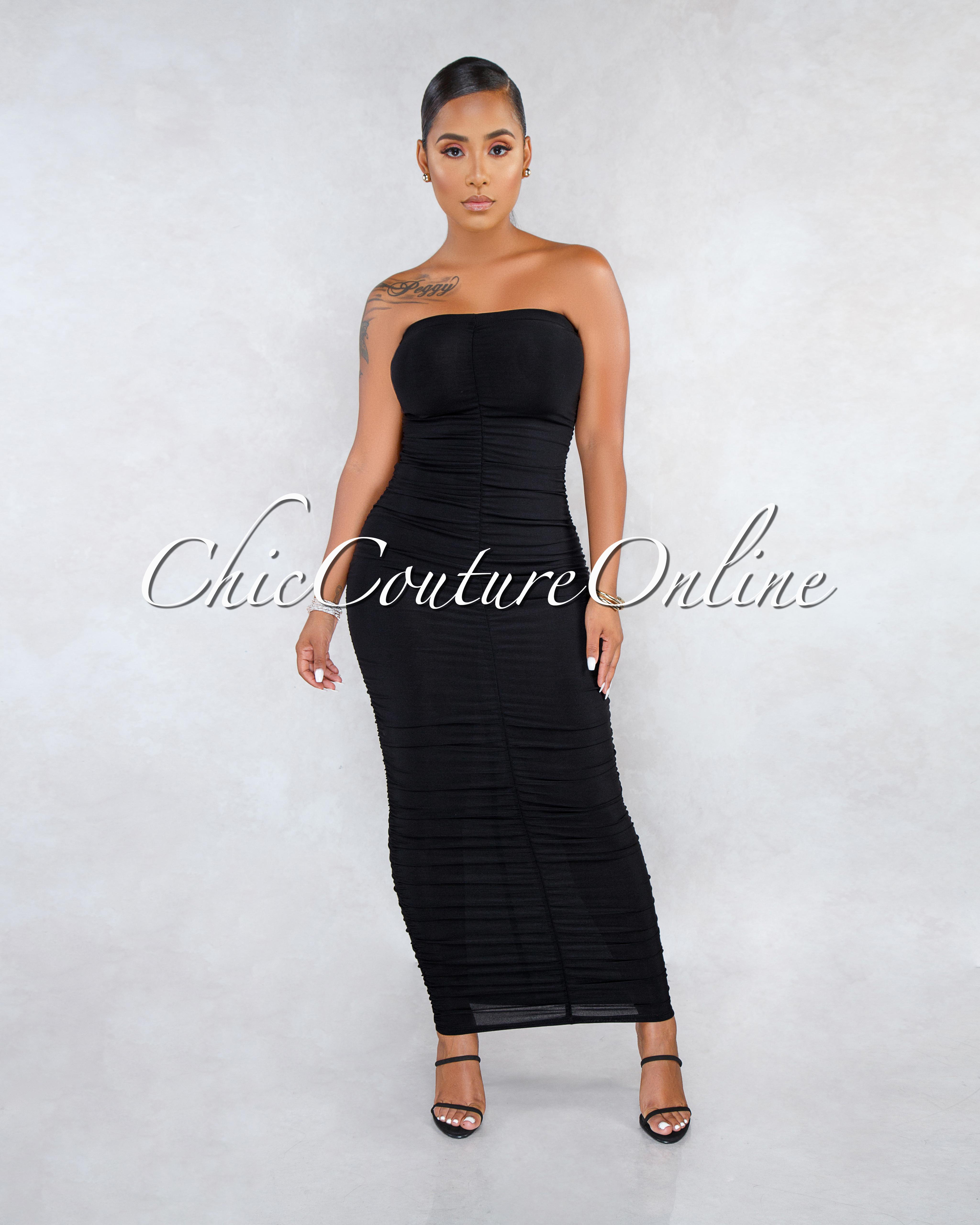 Alesha Black Ruched Strapless Maxi Dress