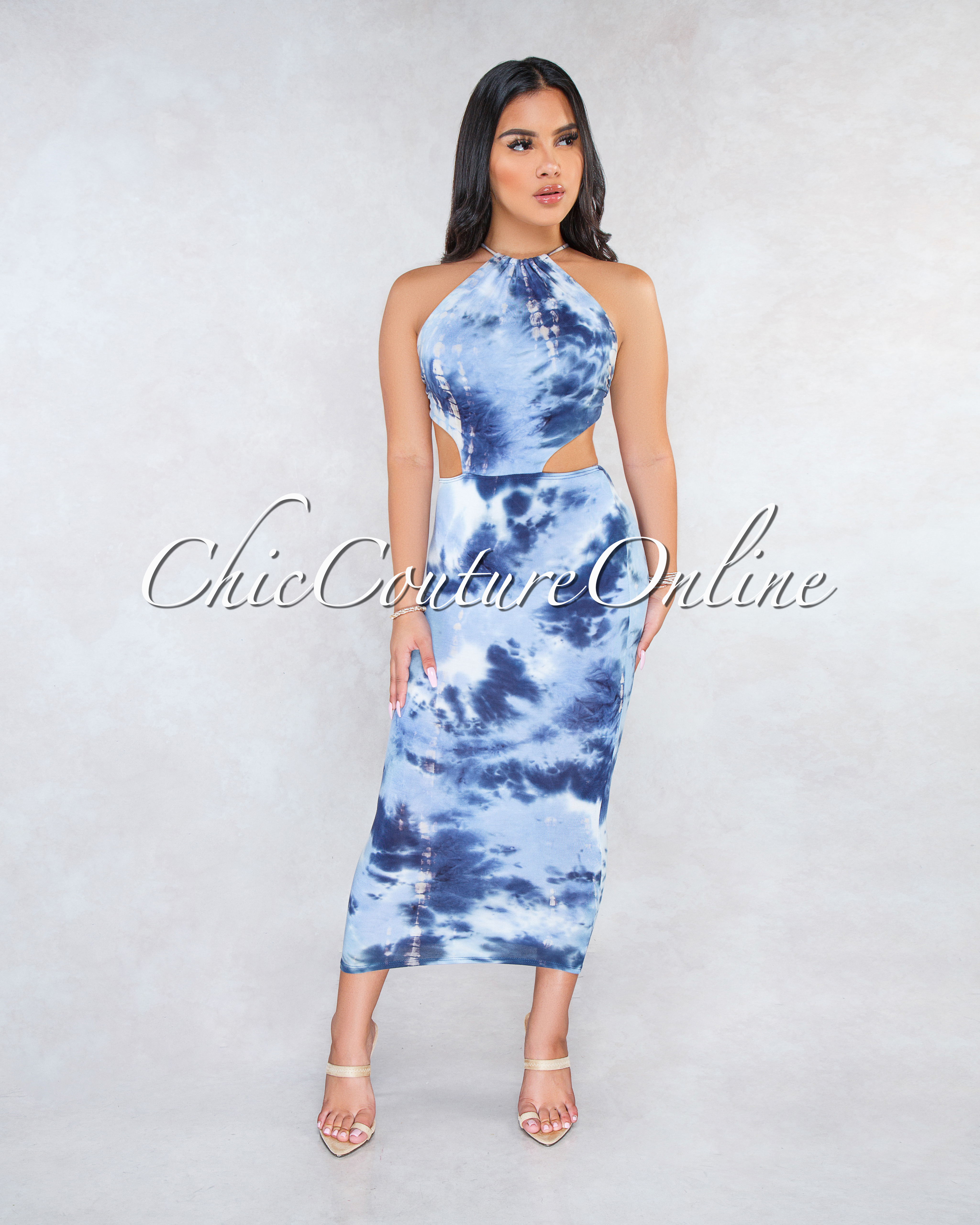 Sevina Navy Blue Tie-Dye Back Cut-Out Maxi Dress