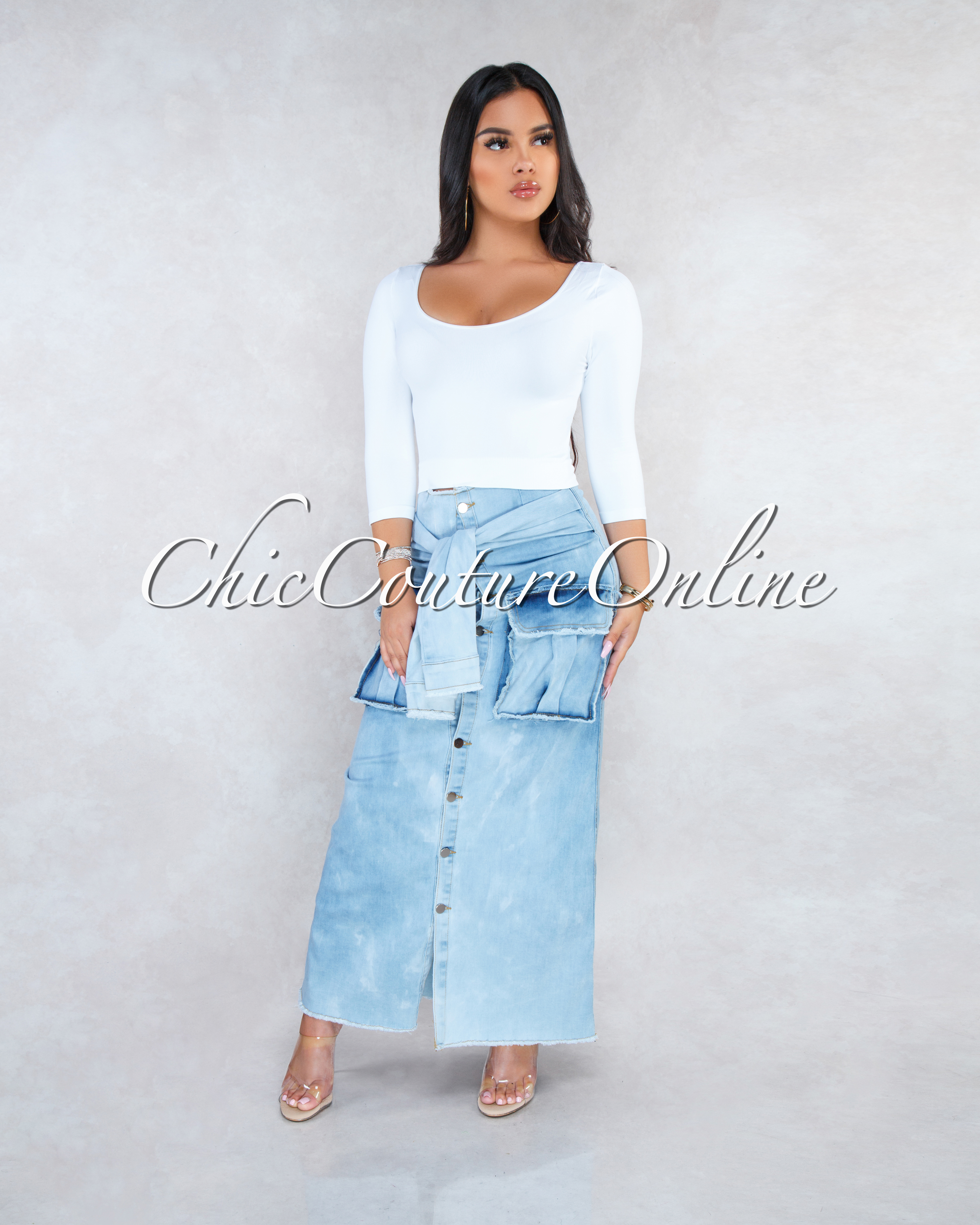 Rixxie Light Denim Faux Sleeves Front Tie Maxi Skirt