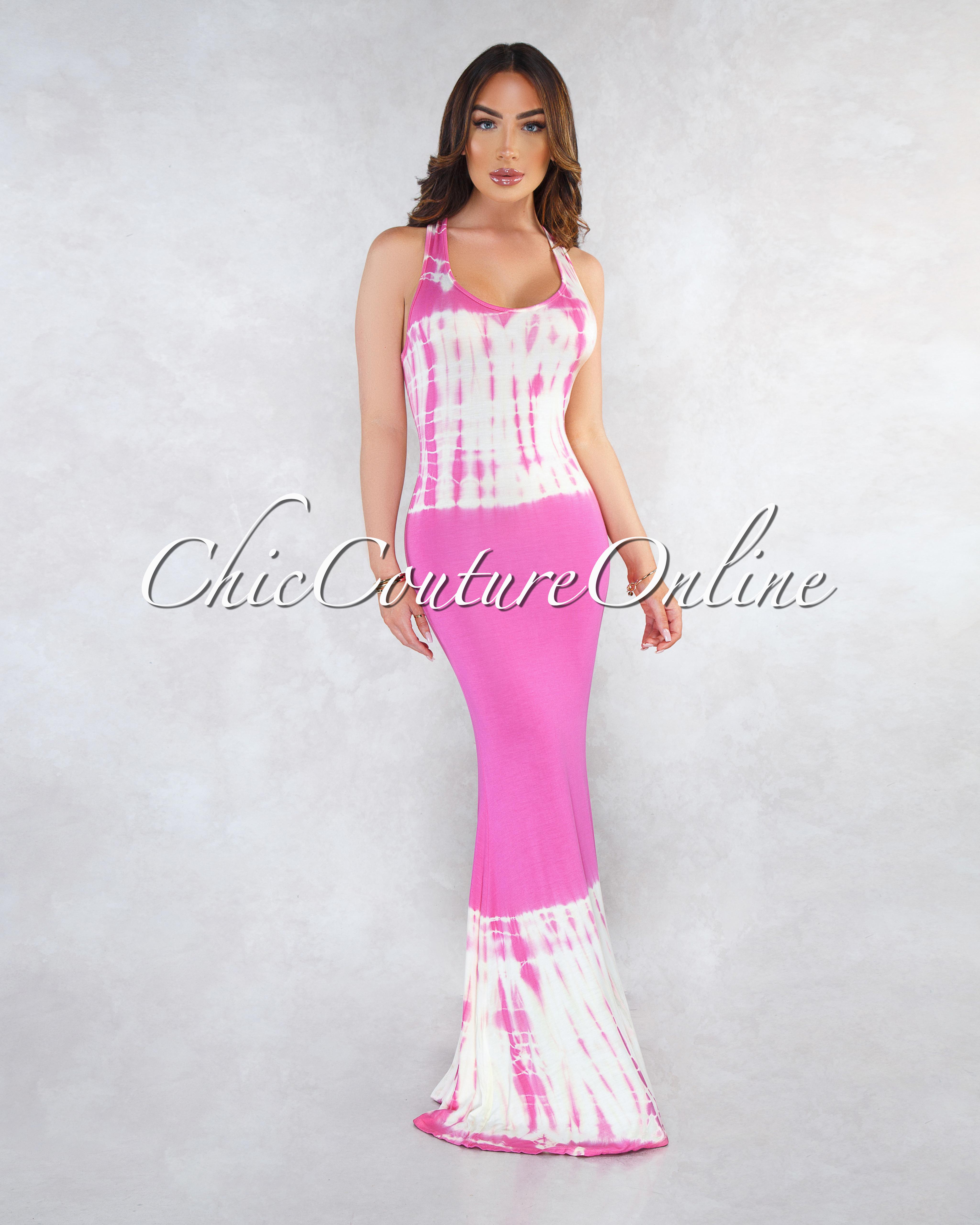Zanita Fuchsia White Tie-Dye Maxi Dress