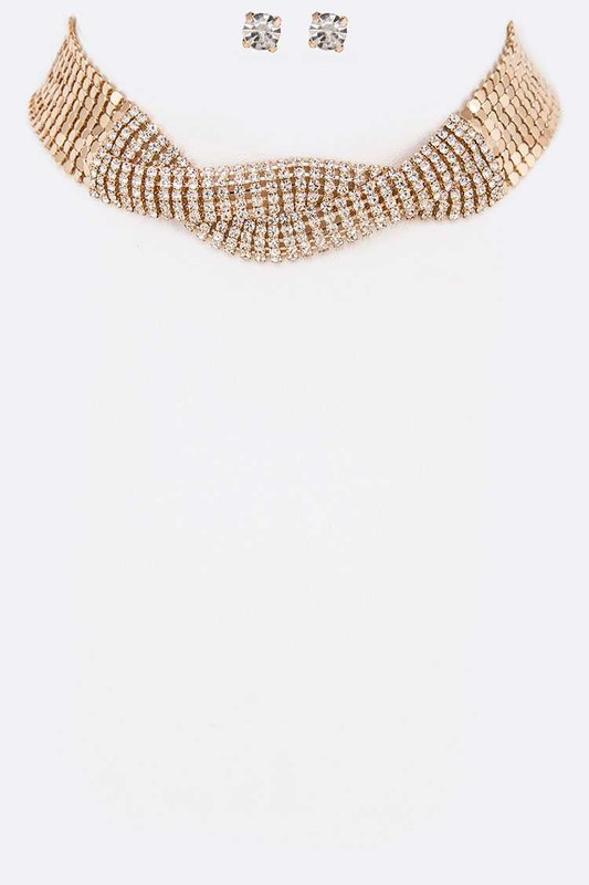 Syla Gold Crystal Twist Choker Necklace