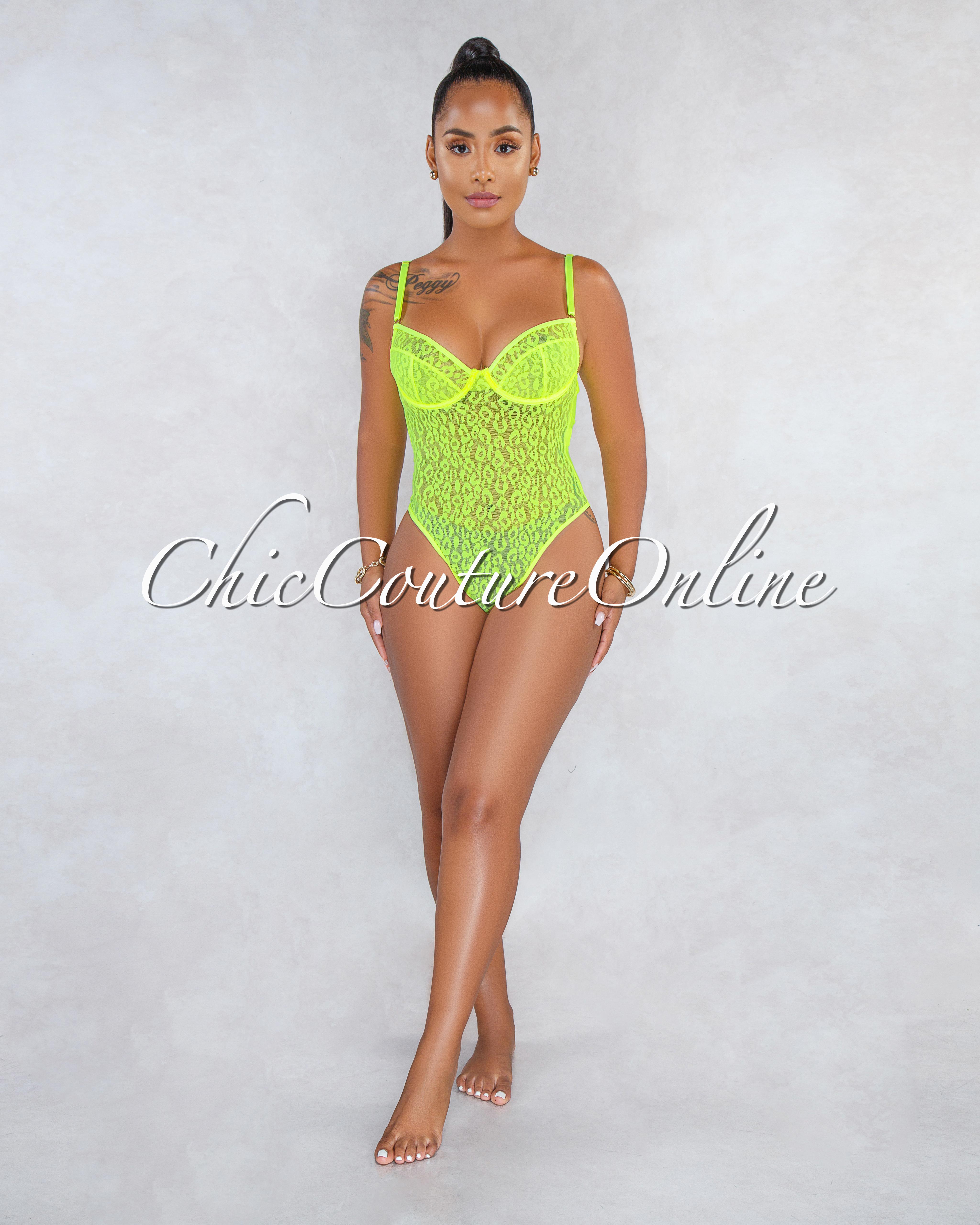 Annabeth Neon Green Mesh Leopard Print See-Through Bodysuit