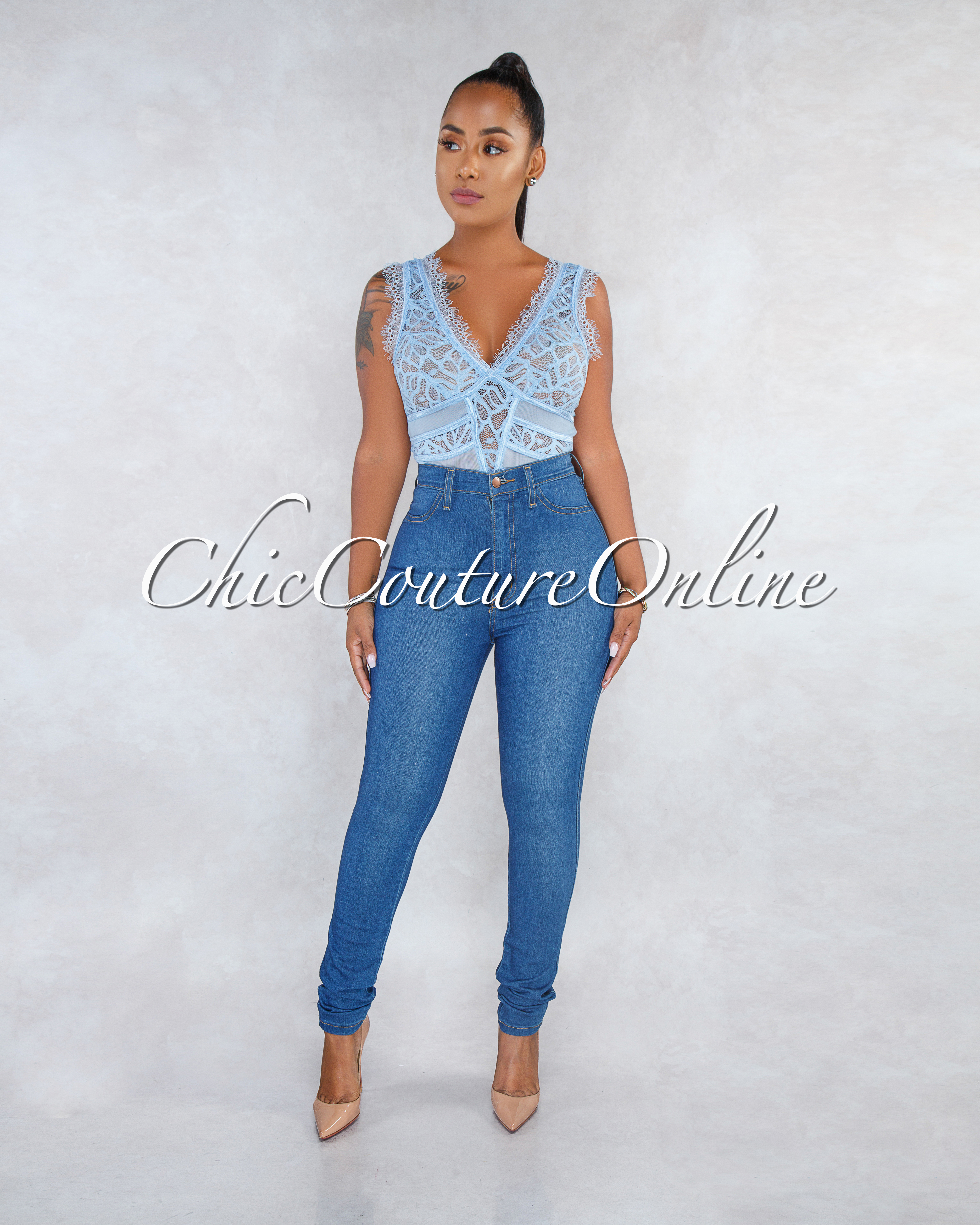 Zinnia Baby Blue Mesh Lace See-Through Bodysuit