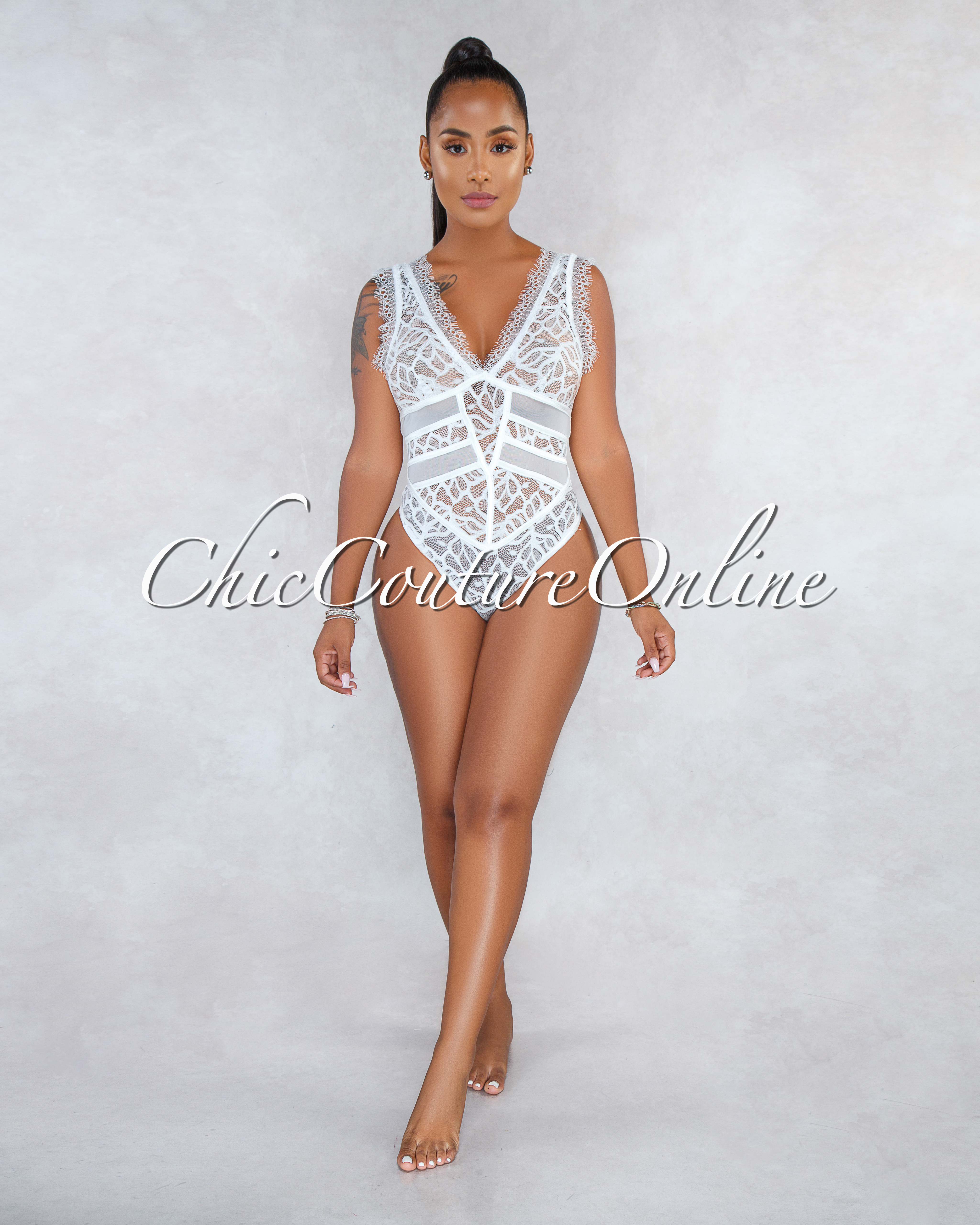 Zinnia Off-White Mesh Lace See-Through Bodysuit