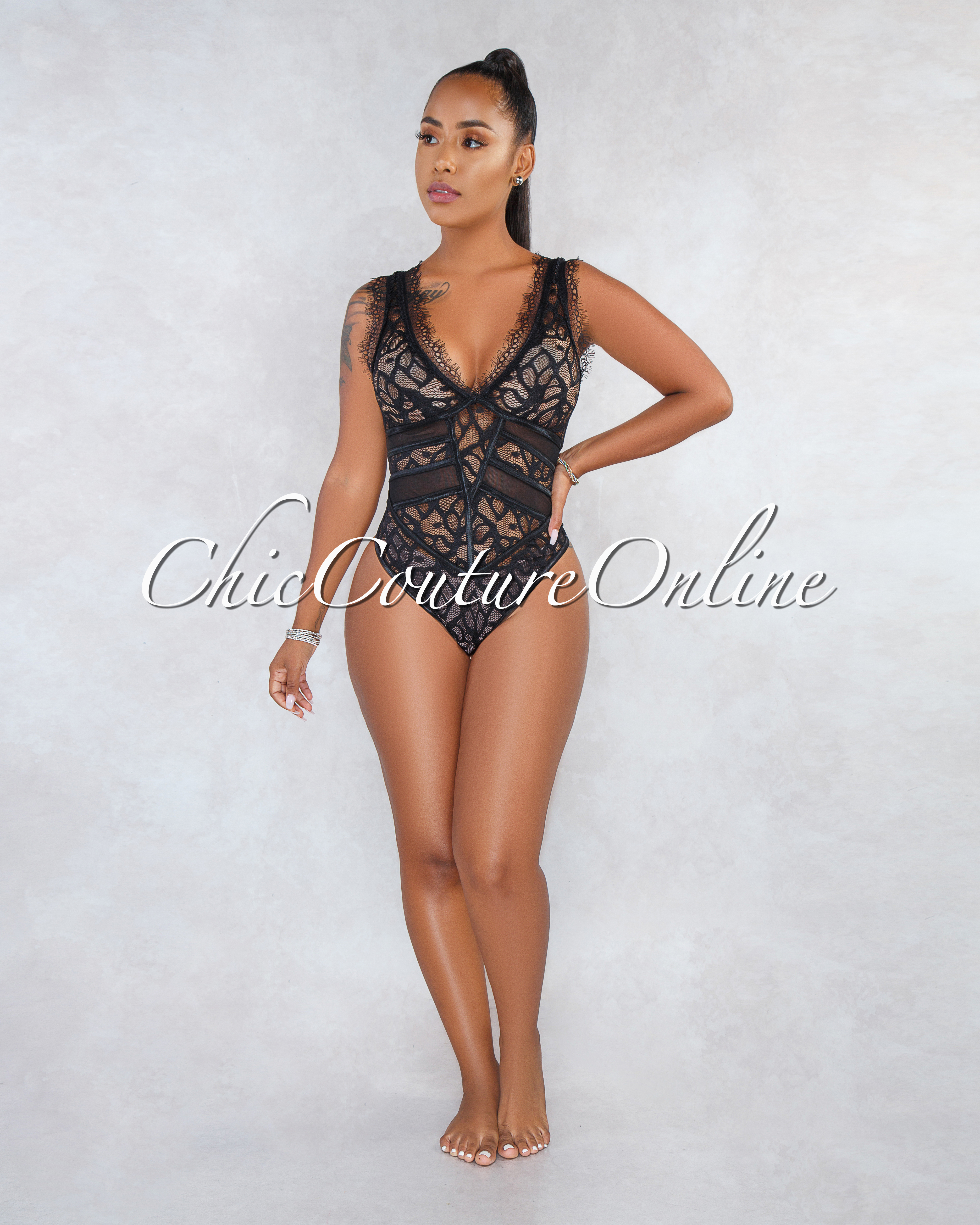 Zinnia Black Mesh Lace See-Through Bodysuit
