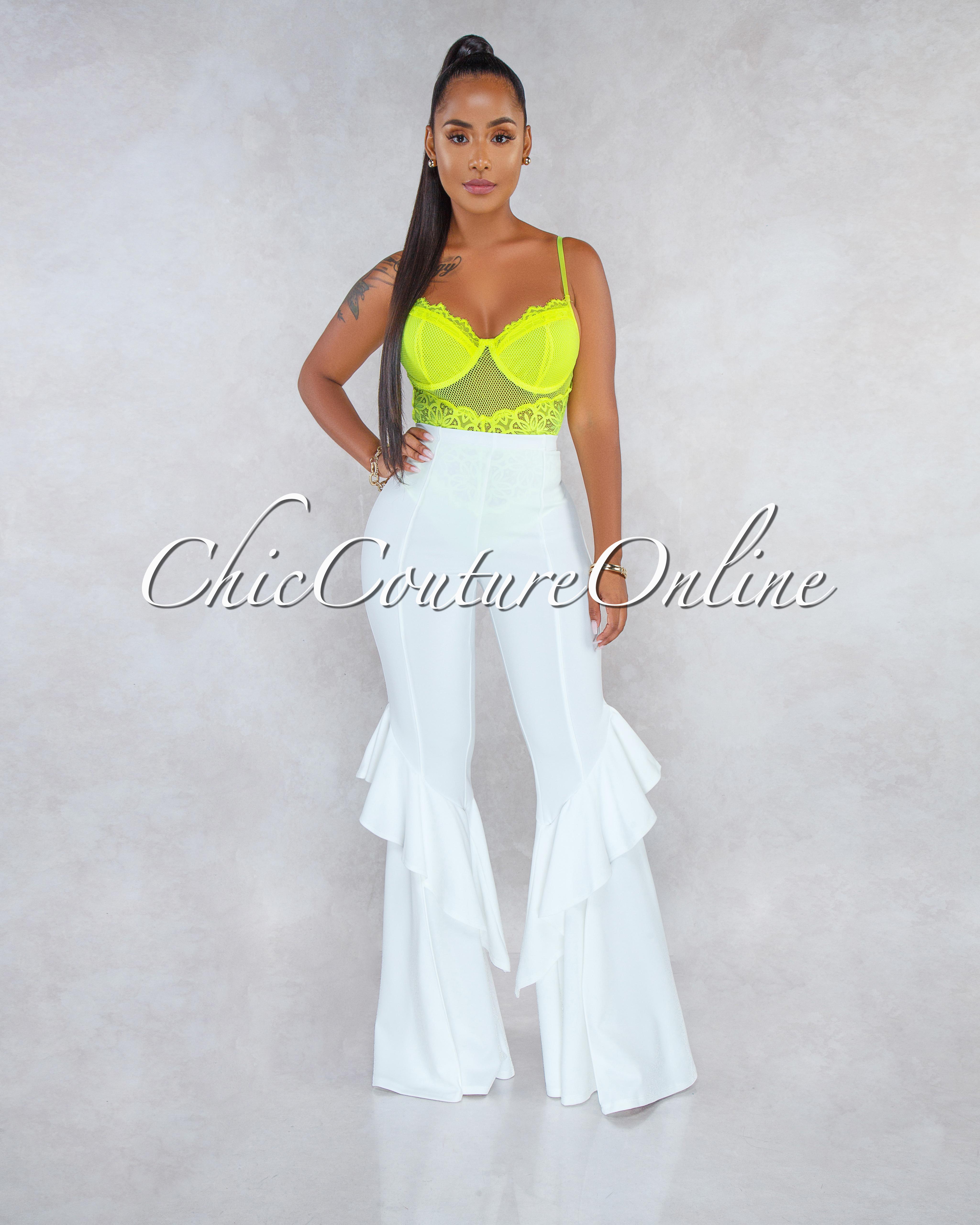 Yulissa Neon Lime Floral Lace Mesh Top Bodysuit