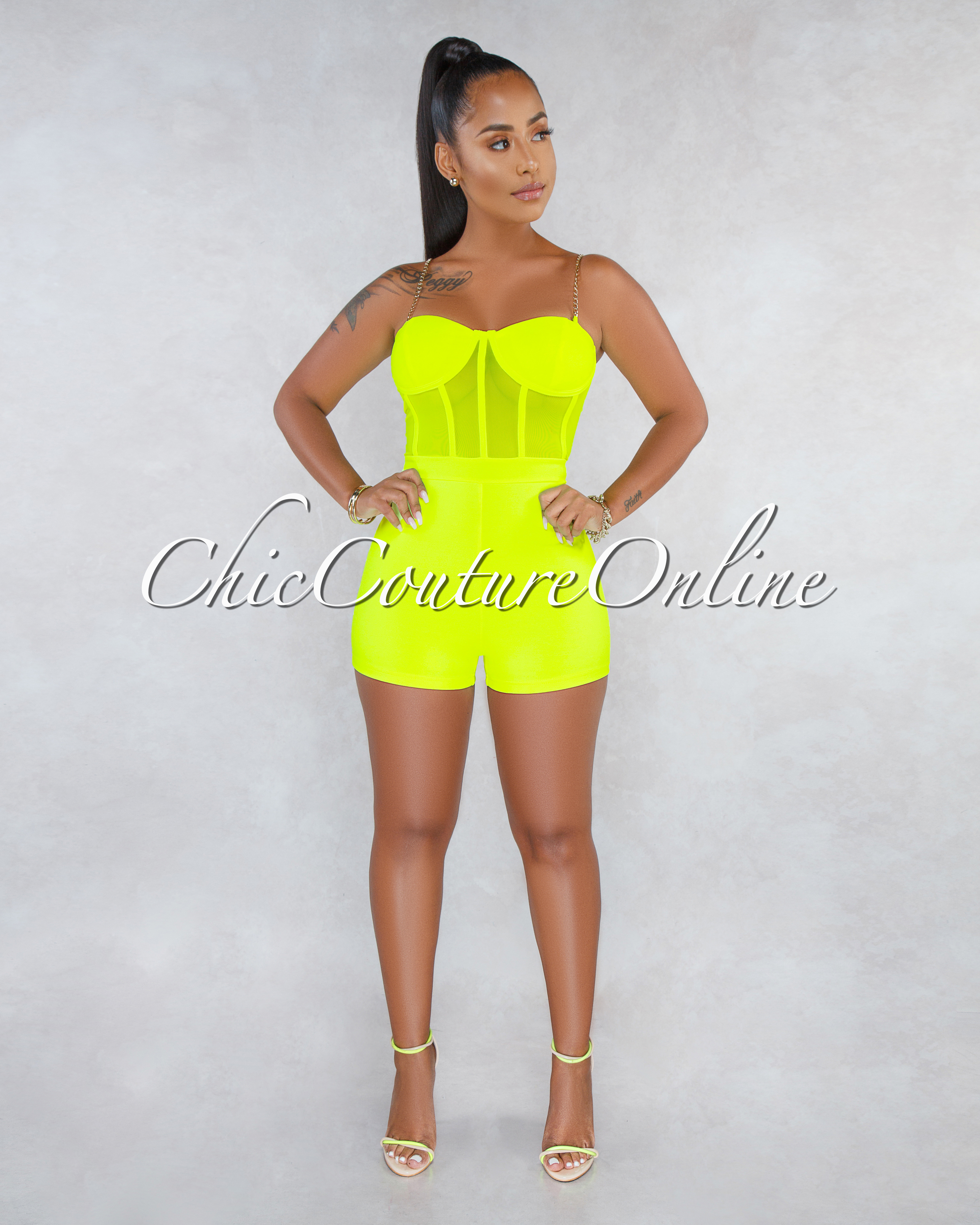 Sacsha Neon Lime Mesh Padded Cups Gold Chain Romper