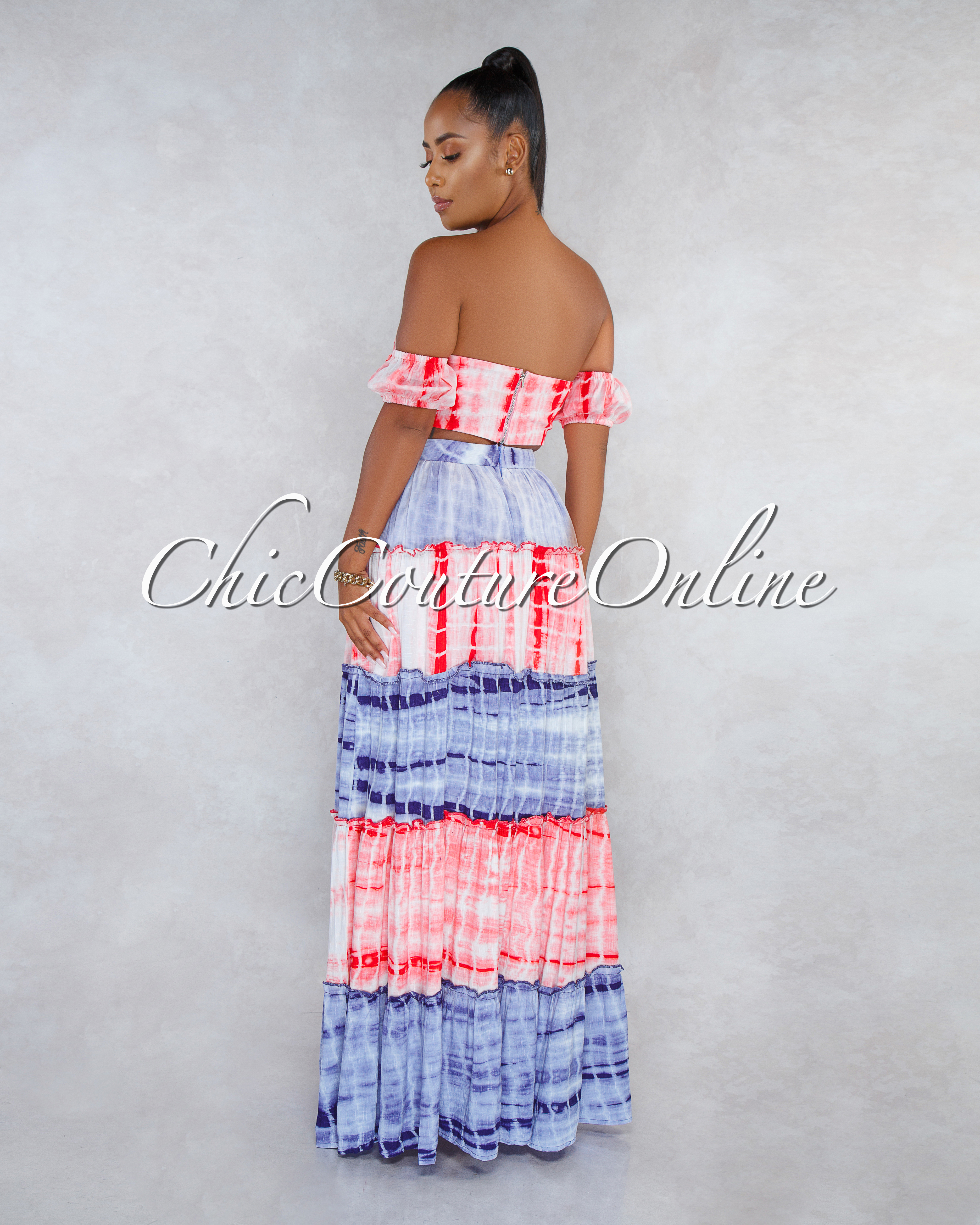 Satura Red Blue Tie-Dye Two Piece Skirt Set