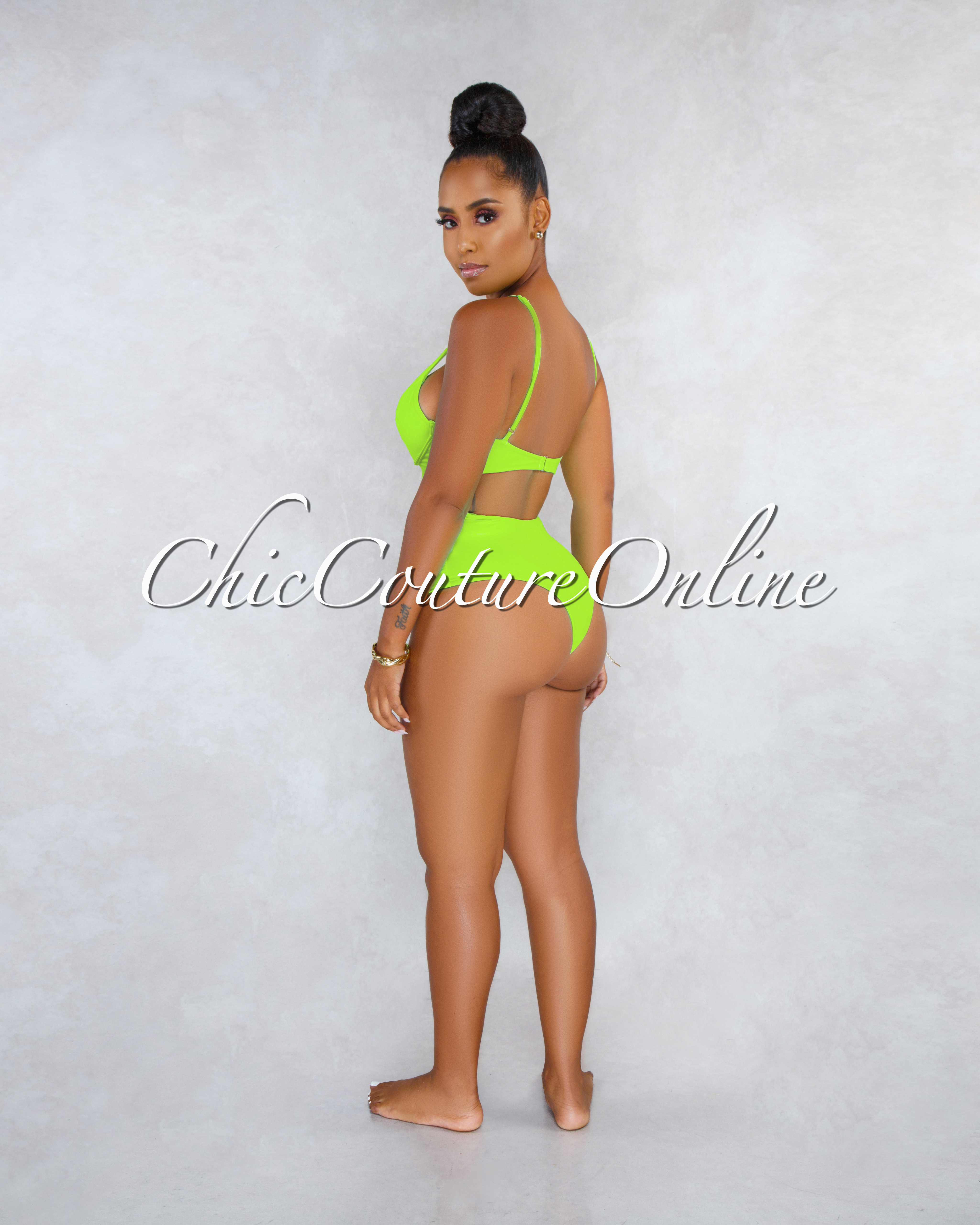 Lakelyn Neon Green Security Wire One Piece Piece Swimsuit