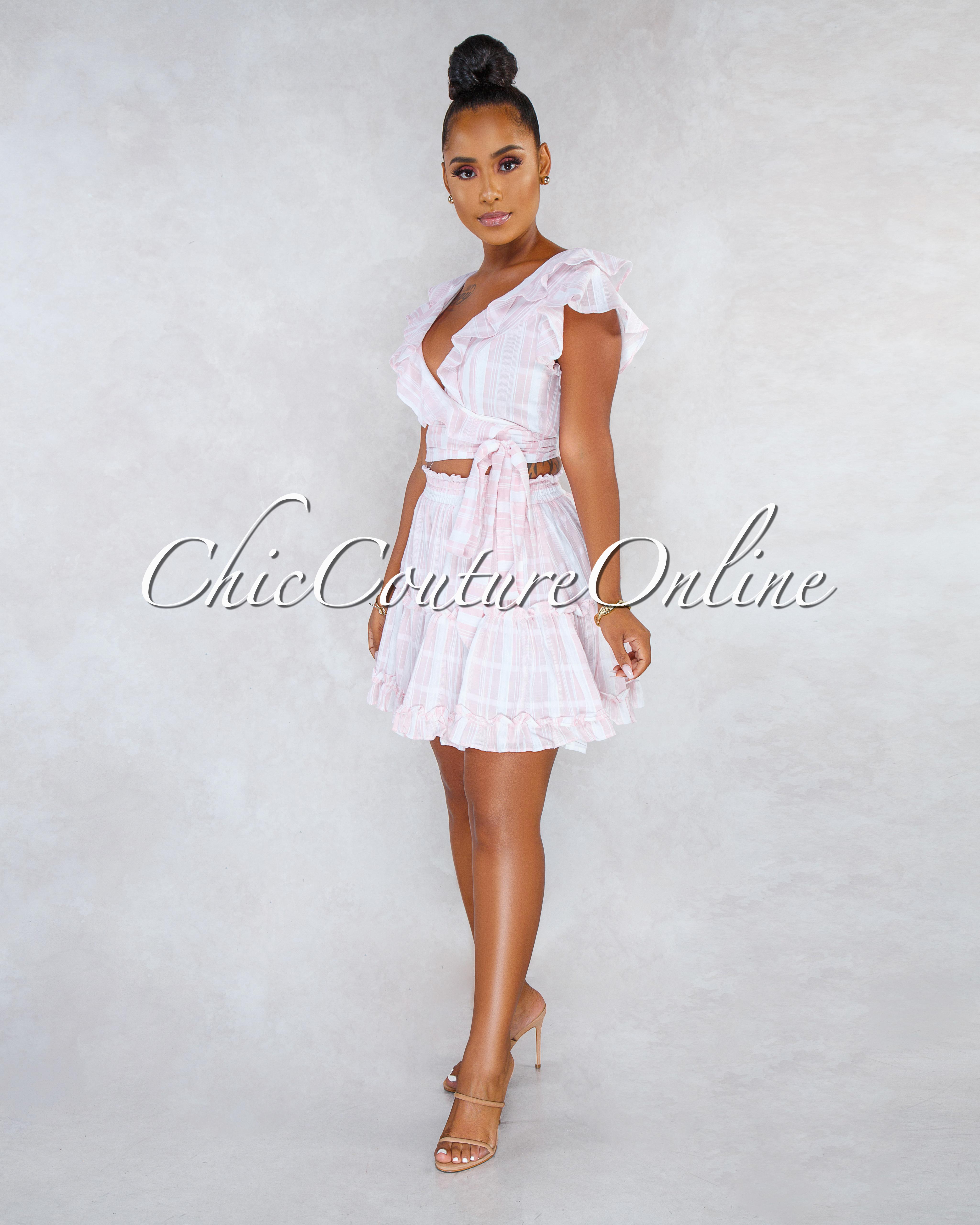 Regis Soft Pink White Stripes Wrap Top Ruffle Details Skirt Set