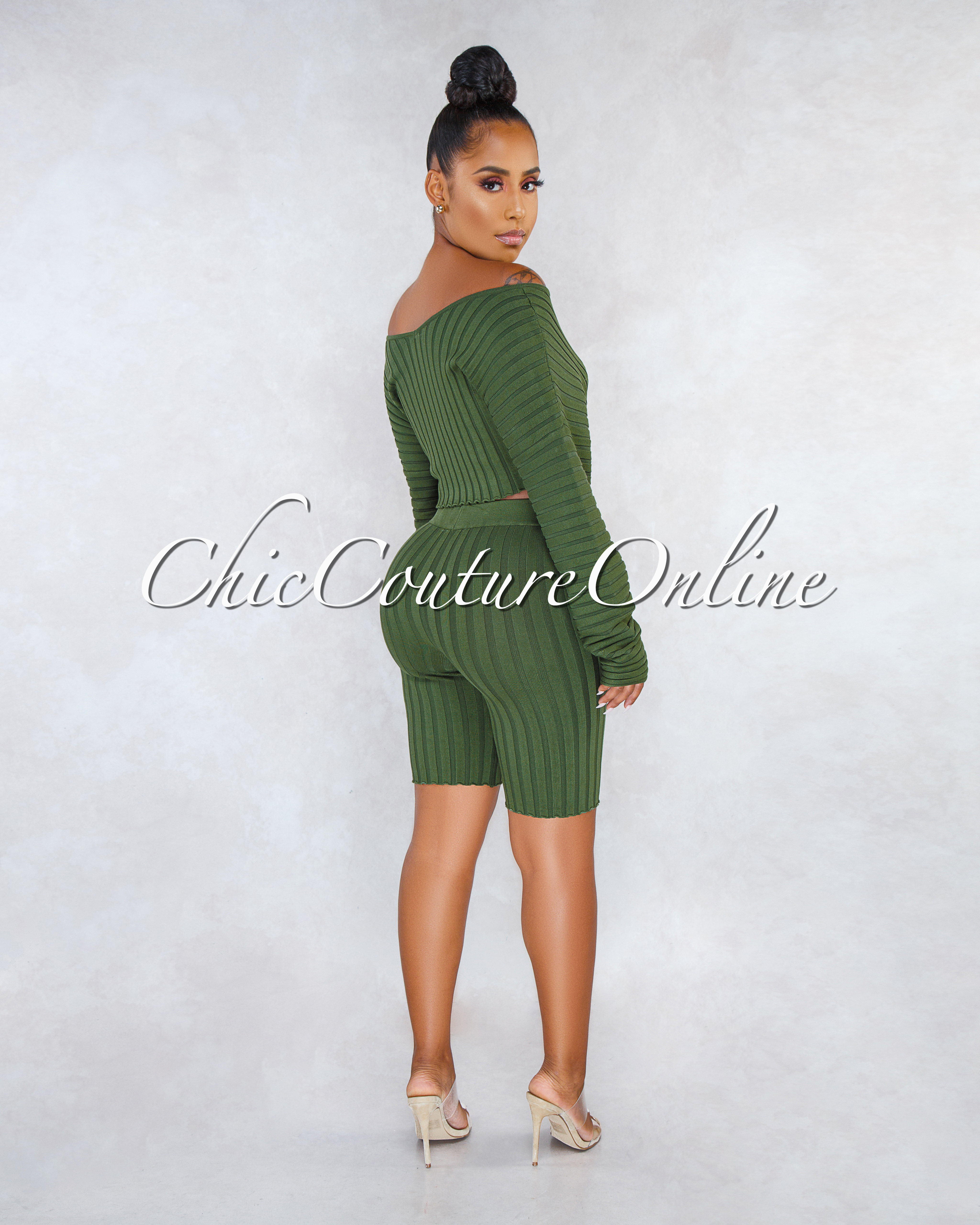 Noraleen Olive Green Ribbed Sweater Bike Shorts Two Piece Set