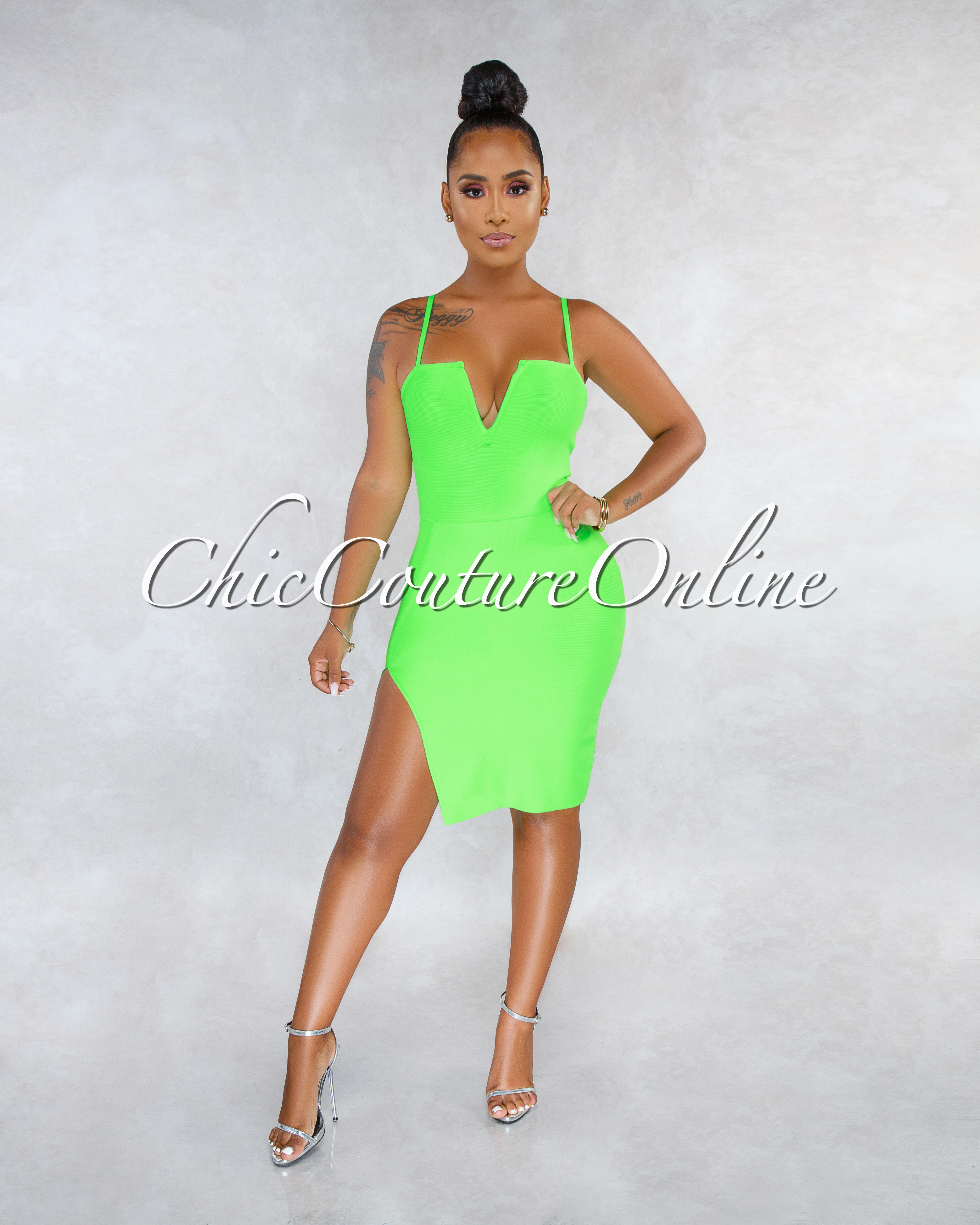 Kenia Neon Green V Neck Slit Bandage Dress