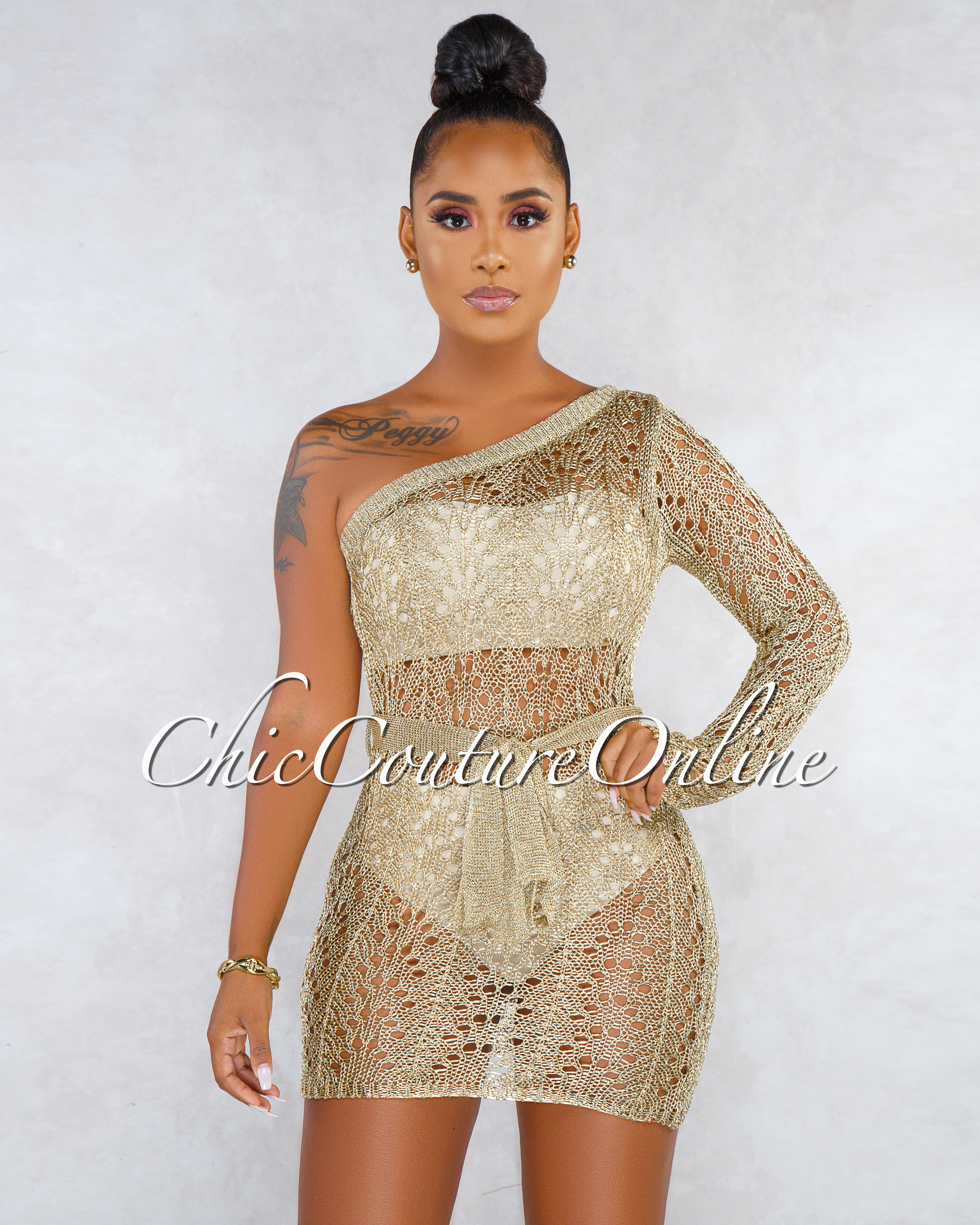 Jazia Golden Metallic Knit Single Sleeve Cover-Up Dress