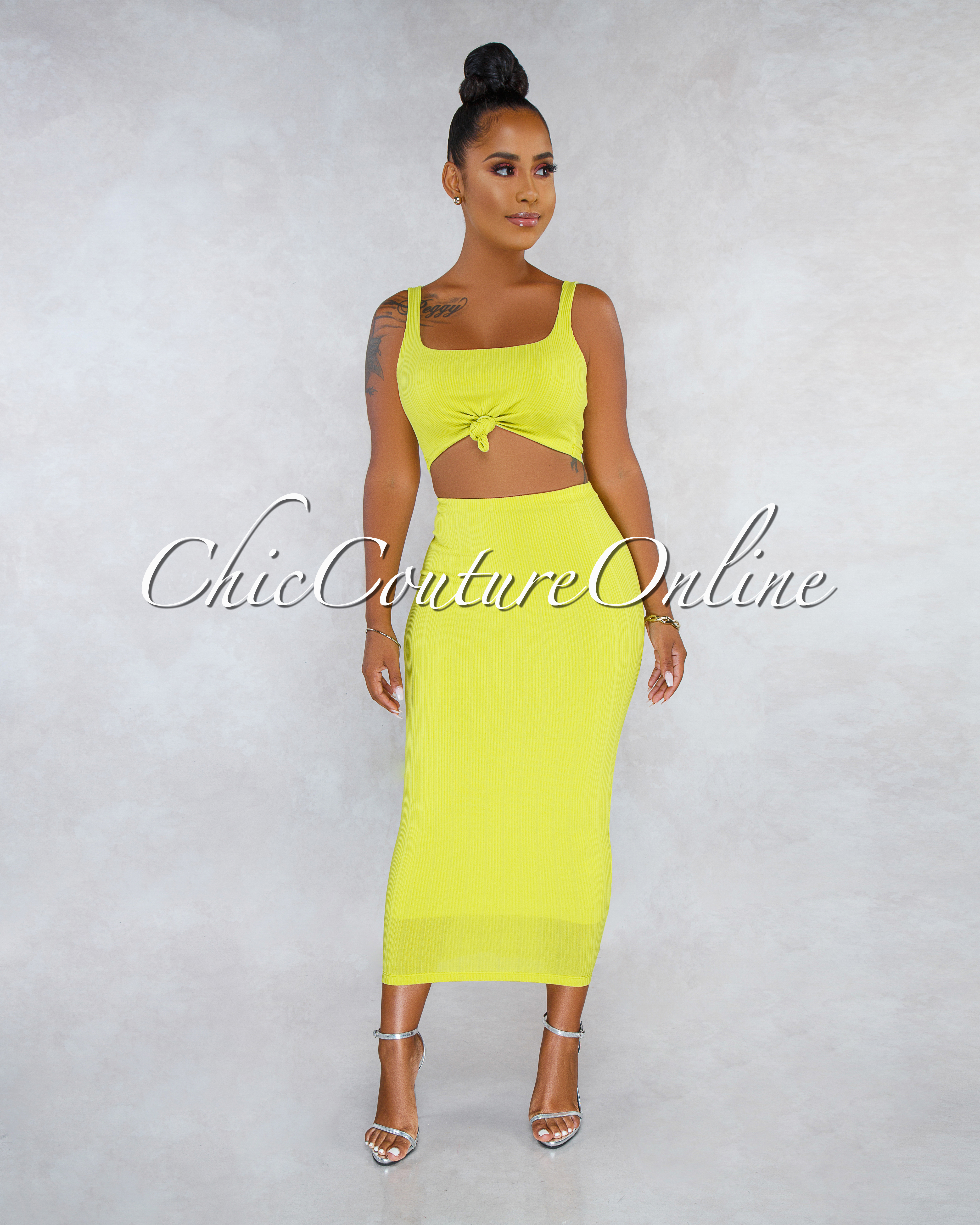 Nubia Lemon Ribbed Front Knot Top Pencil Skirt Two Piece Set