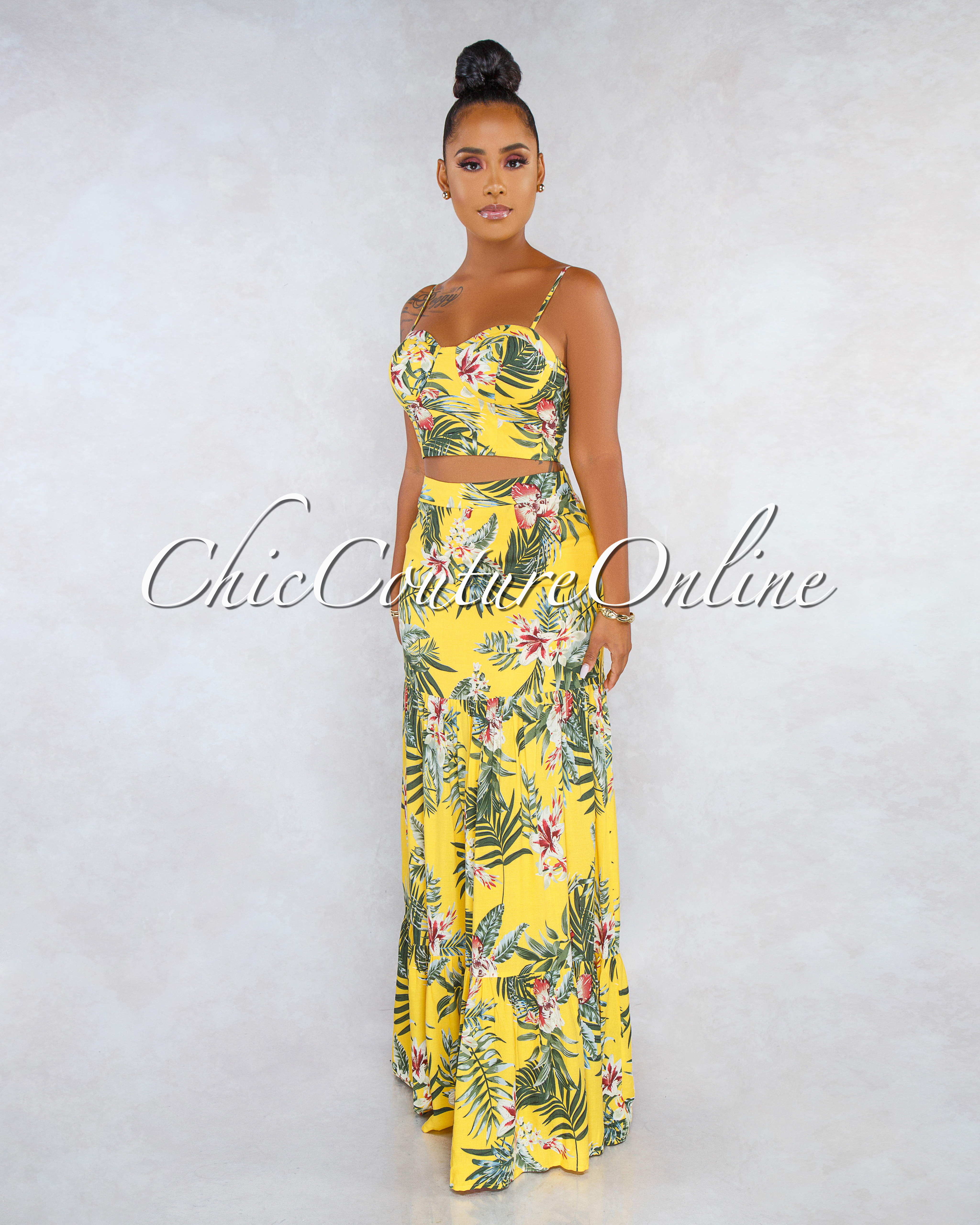 Nuevo Yellow Floral Print Padded Cups Top Two Piece Skirt Set