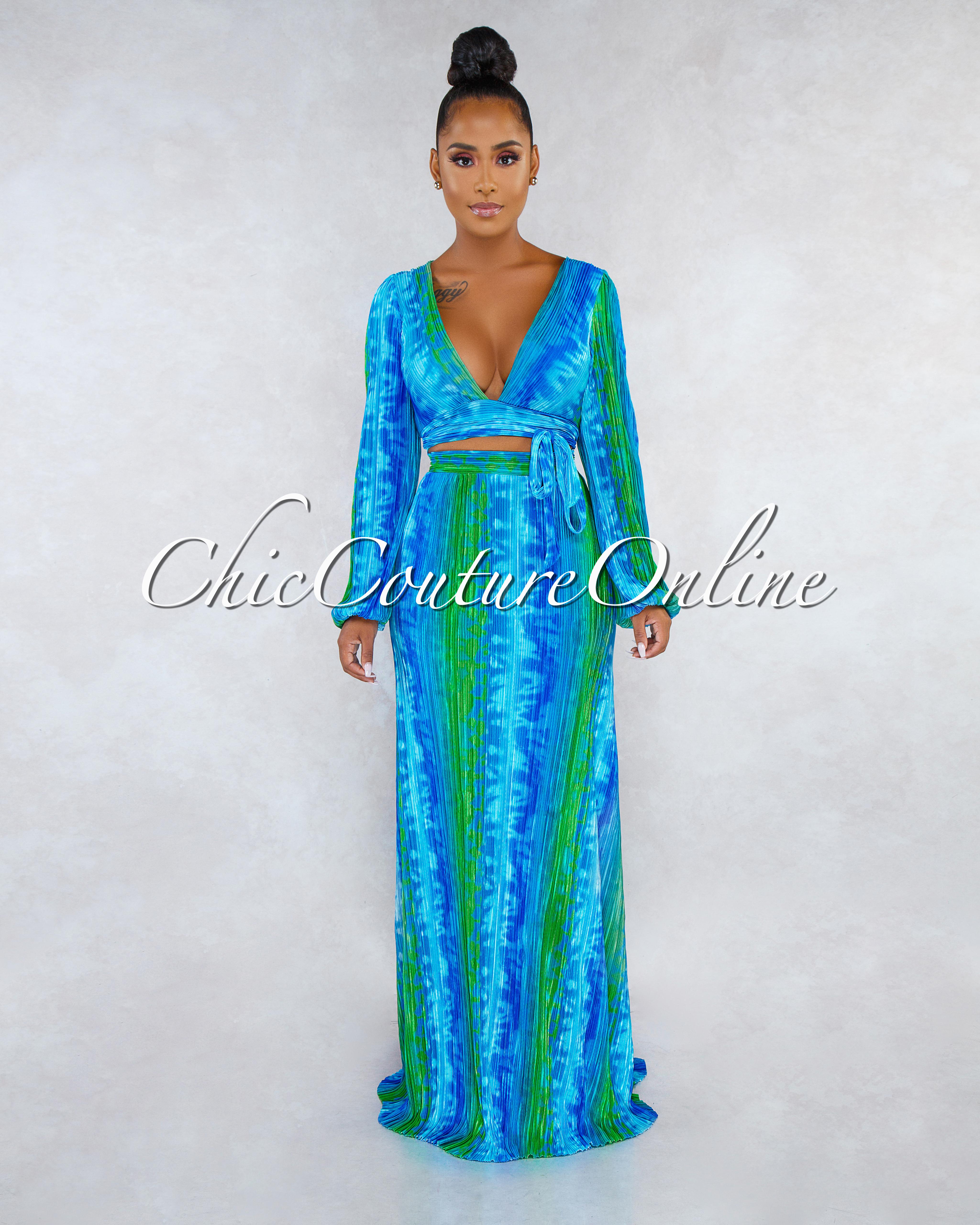 Bradshaw Blue Green Tie-Dye Pleated Two Piece Skirt Set