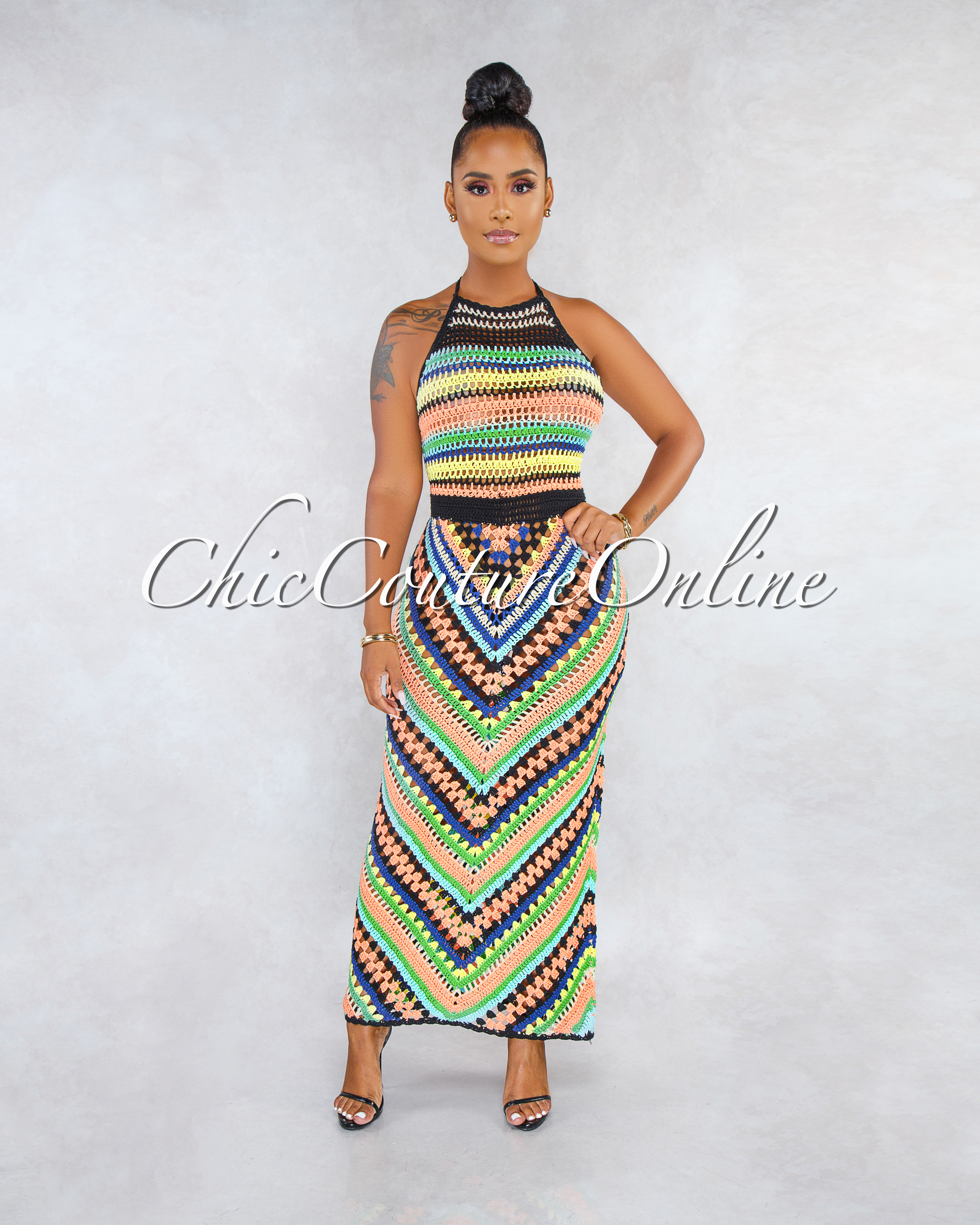 Naples Black Multi-Color Chevron Stripes Crochet Cover-Up Dress
