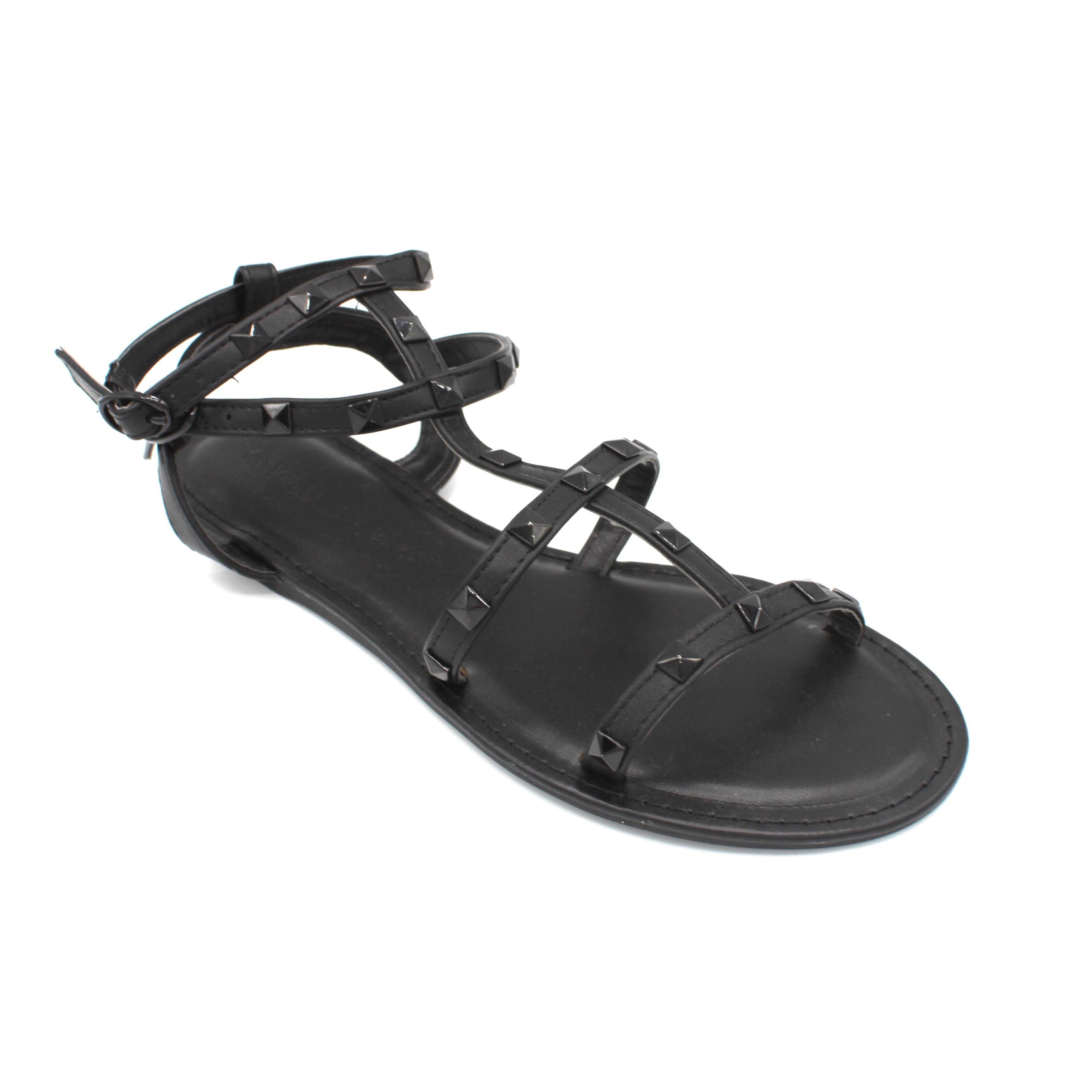 Clover Black Straps Black Studs Flat Sandals