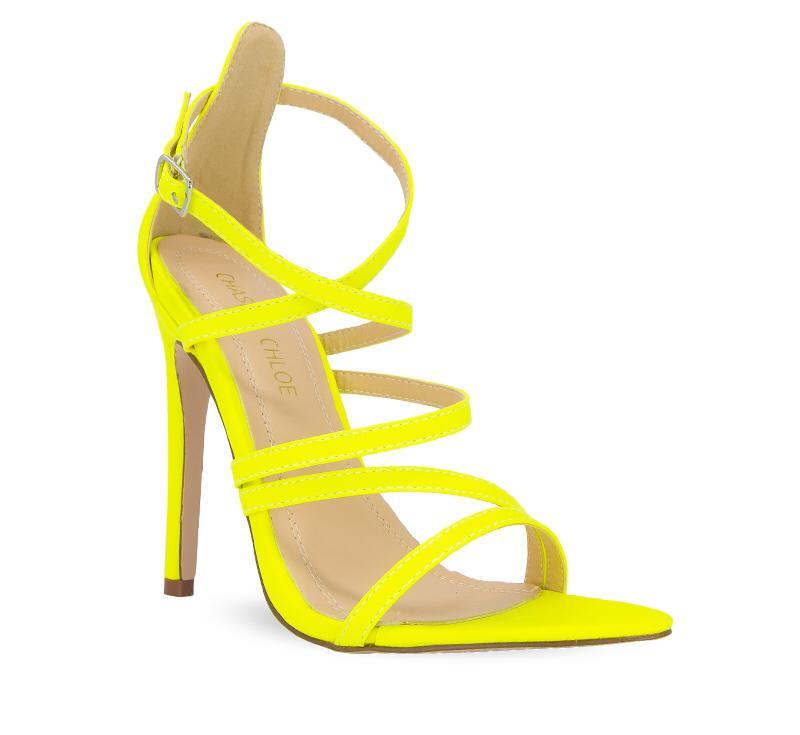 Remi Neon Yellow Criss-Cross Straps High Heel Sandals