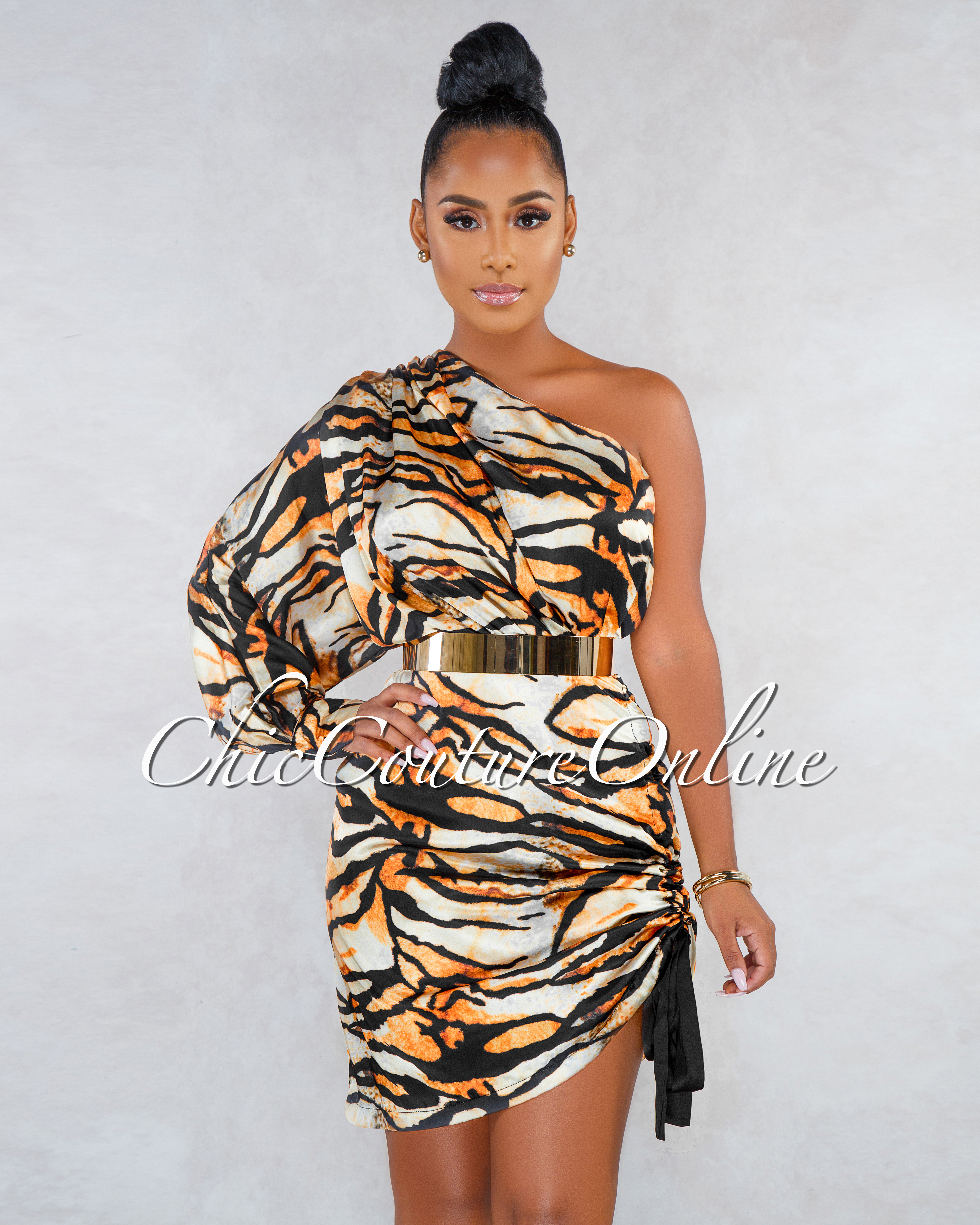 Hadrian Tiger Print Ruched Side Single Shoulder Silky Dress