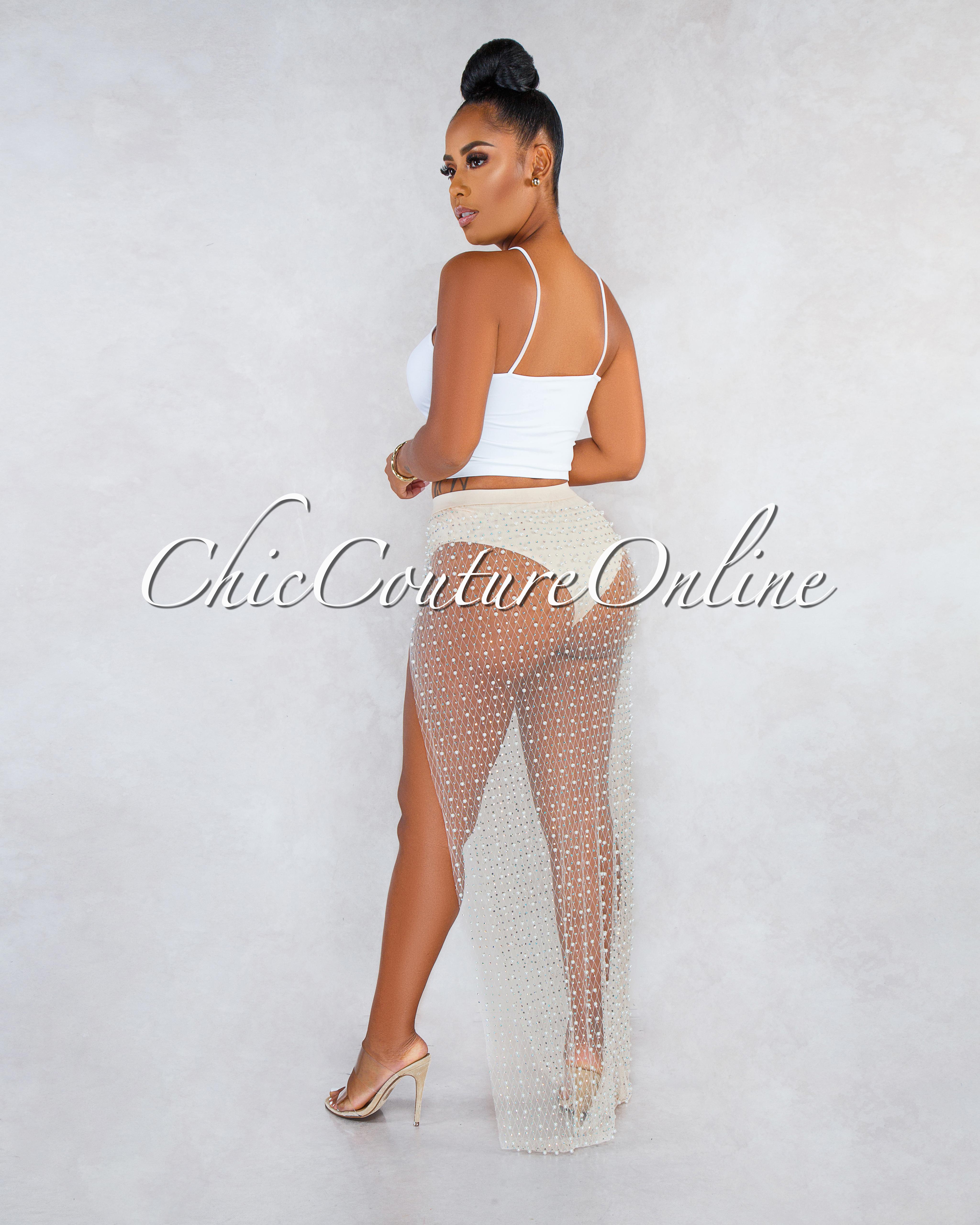 Tamesis Nude Pearl Rhinestones Embellished Mesh Slit Skirt