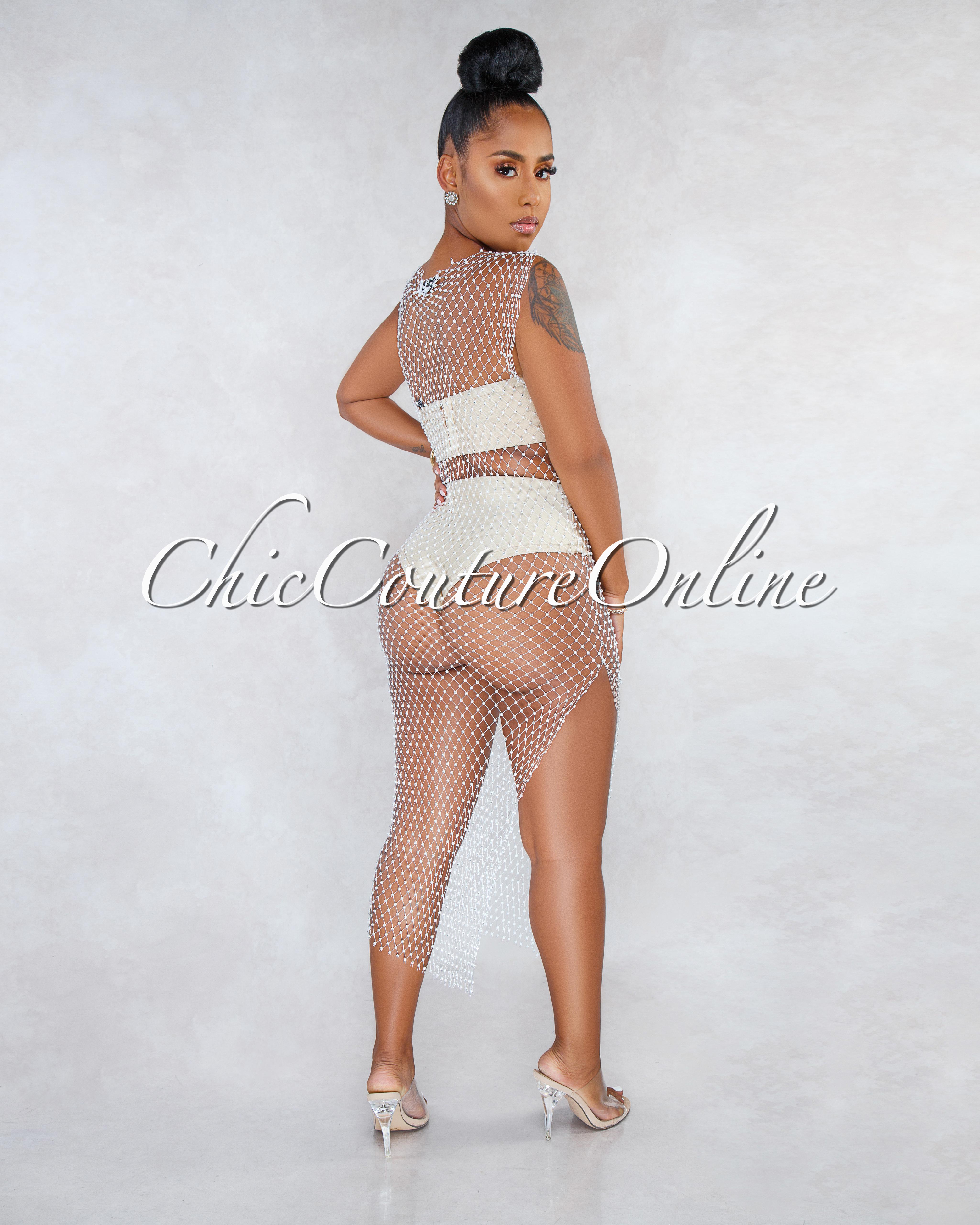 Emiya White Silver Crystal Embellished Mesh Cover-Up Dress