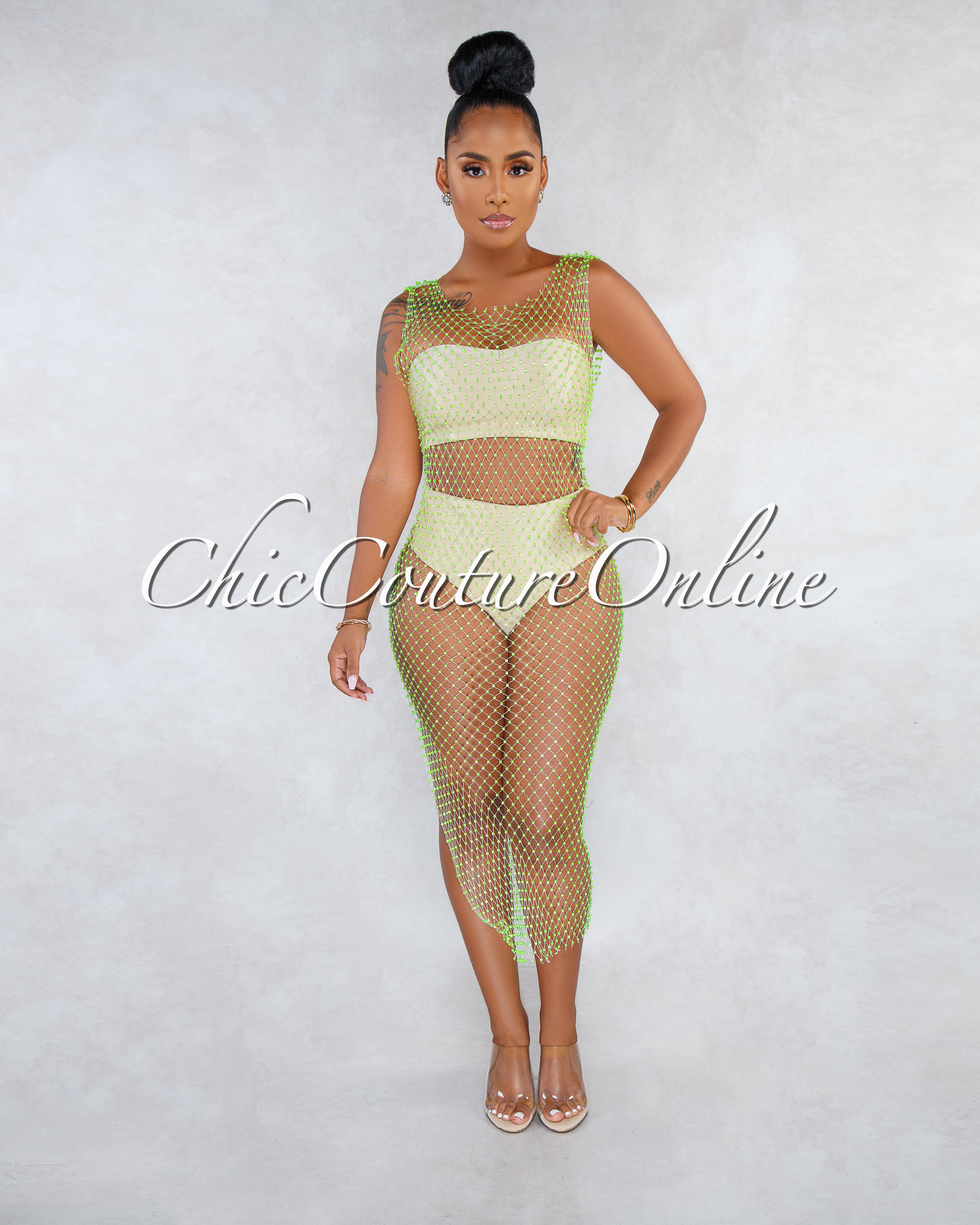 Emiya Neon Lime Crystal Embellished Mesh Cover-Up Dress