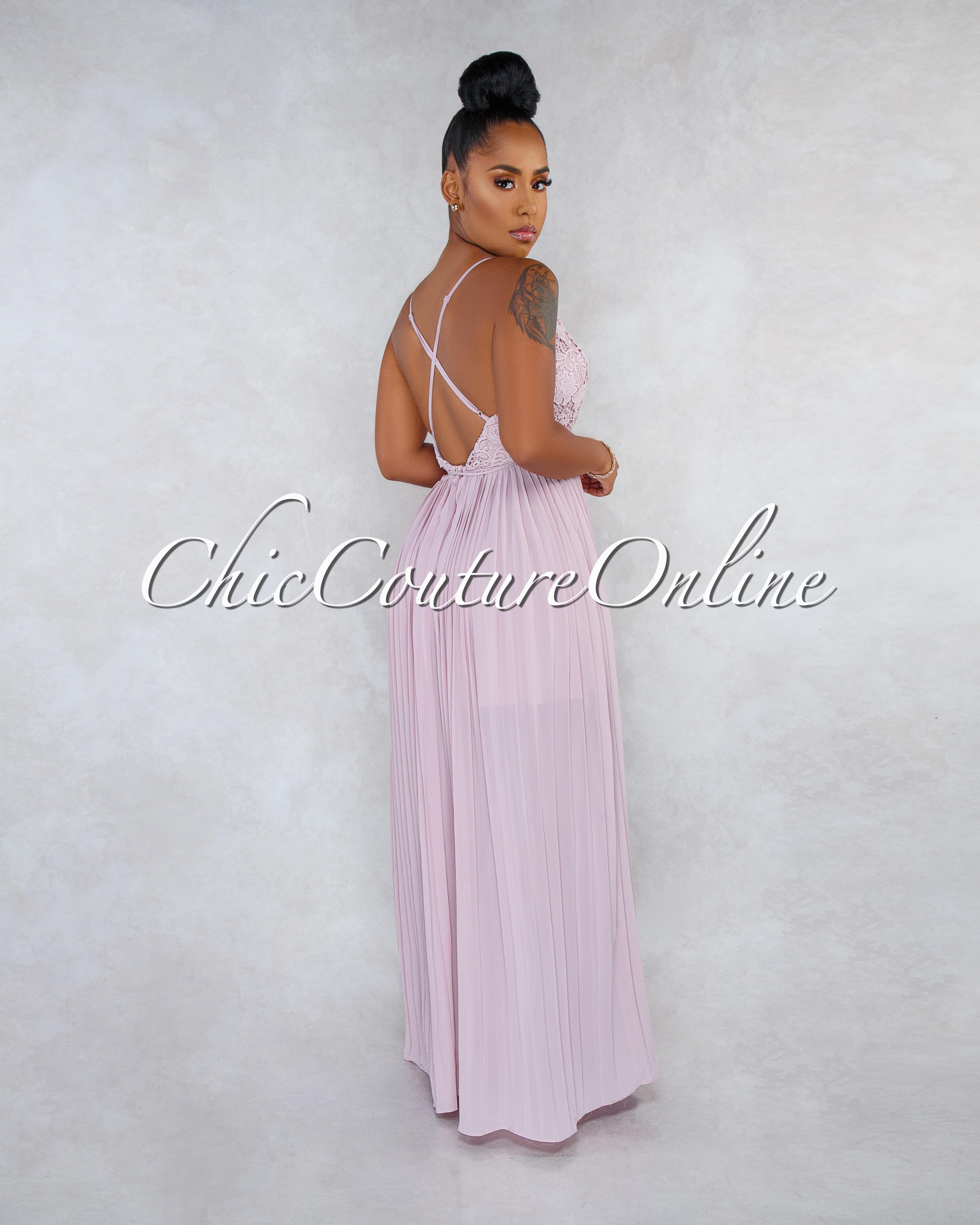 Xandy Dusty Rose Crochet Top Open Back Pleated Maxi Dress