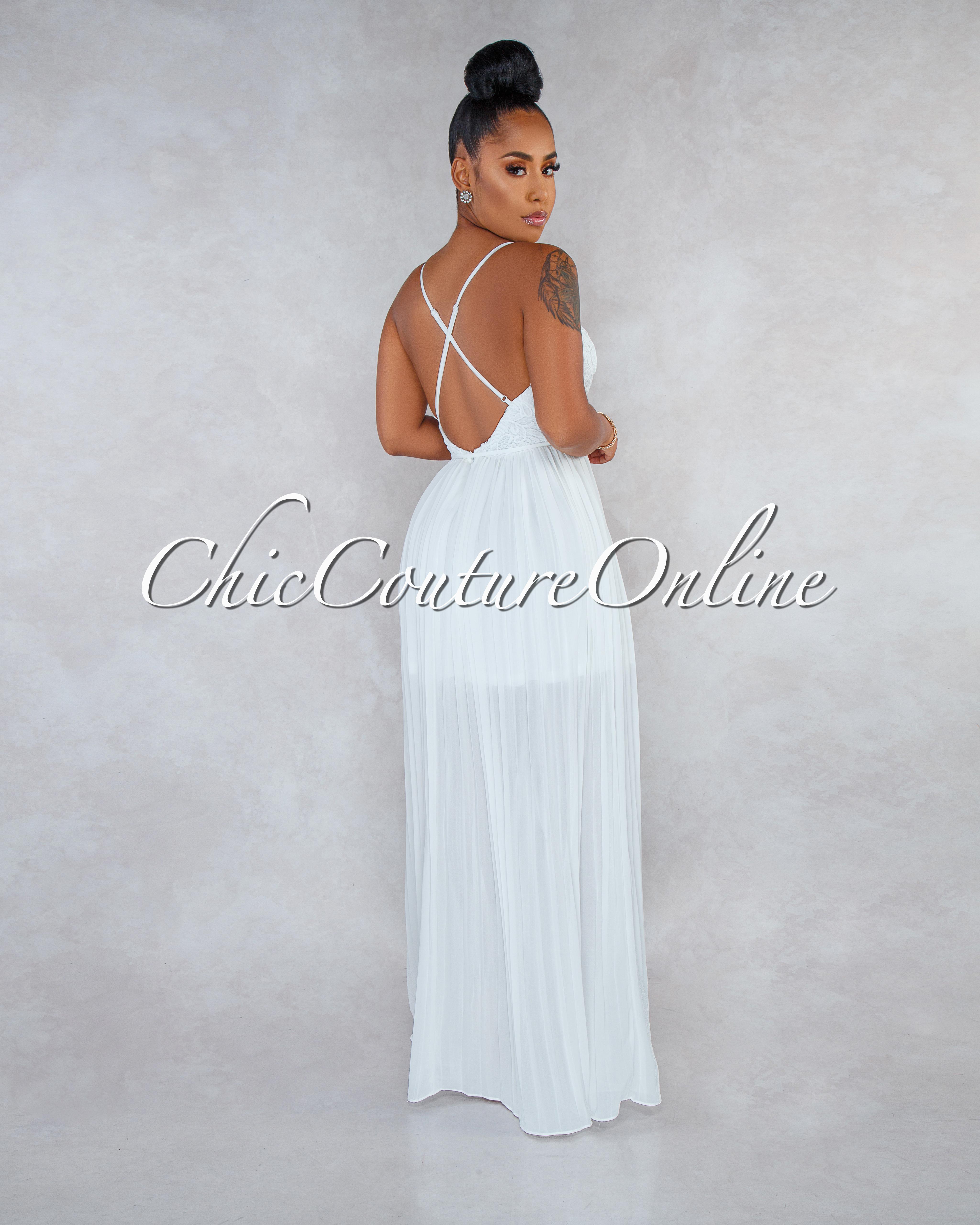 Xandy Ivory Crochet Top Open Back Pleated Maxi Dress