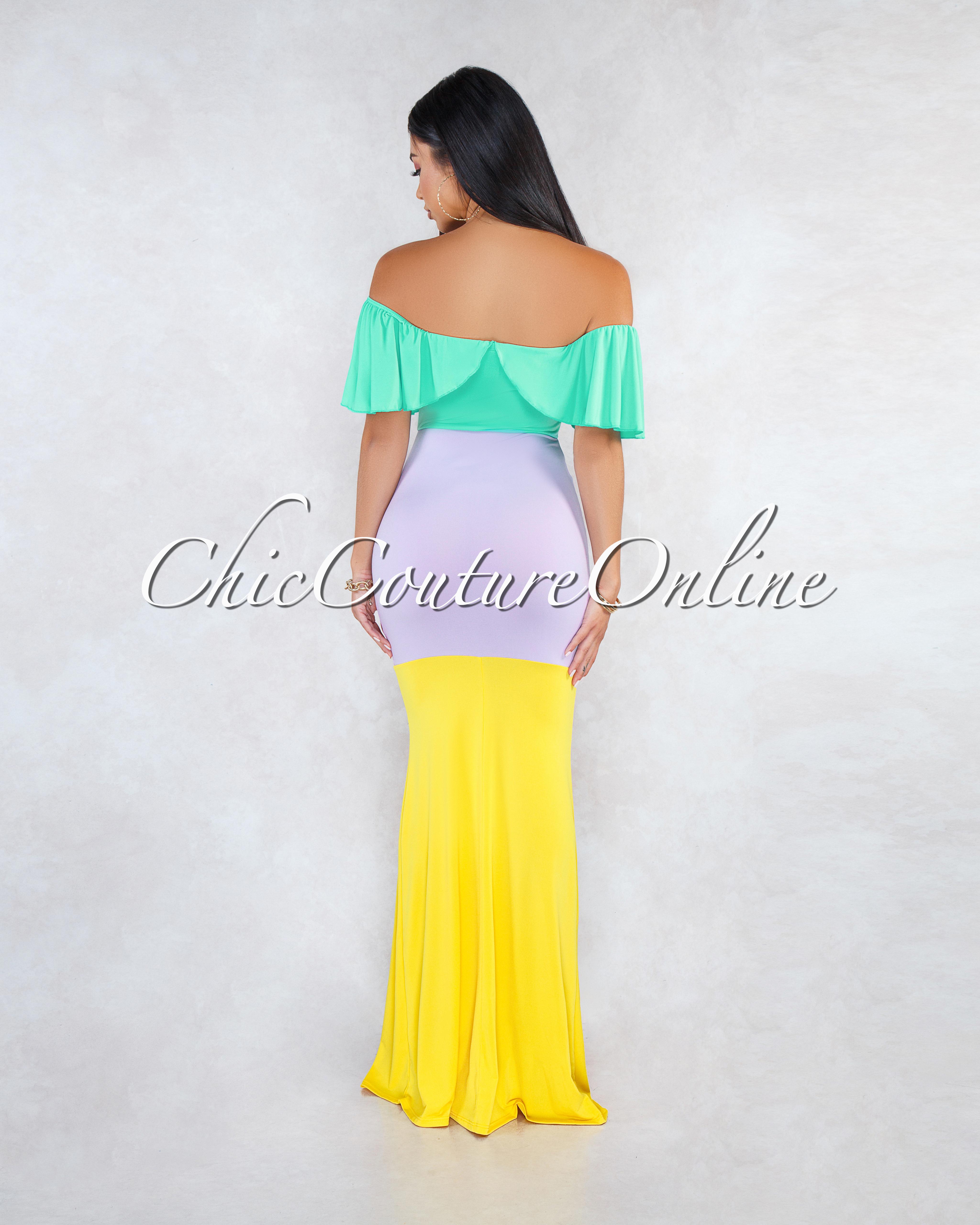 Westwood Aqua Lavender Yellow Color Block Ruffle Maxi Dress