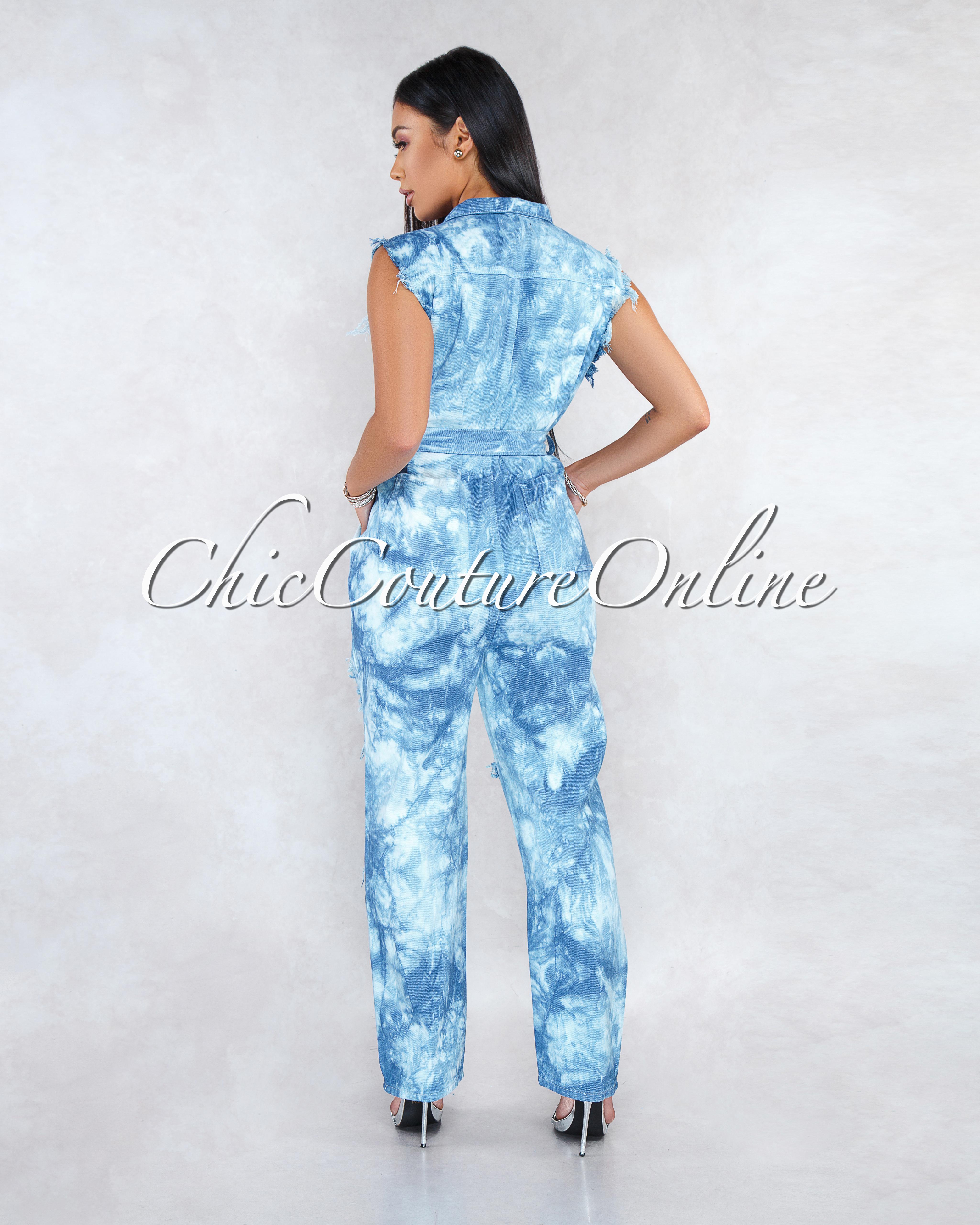 Tyger Blue Tie-Dye Denim Destroyed Utility CURVACEOUS Jumpsuit